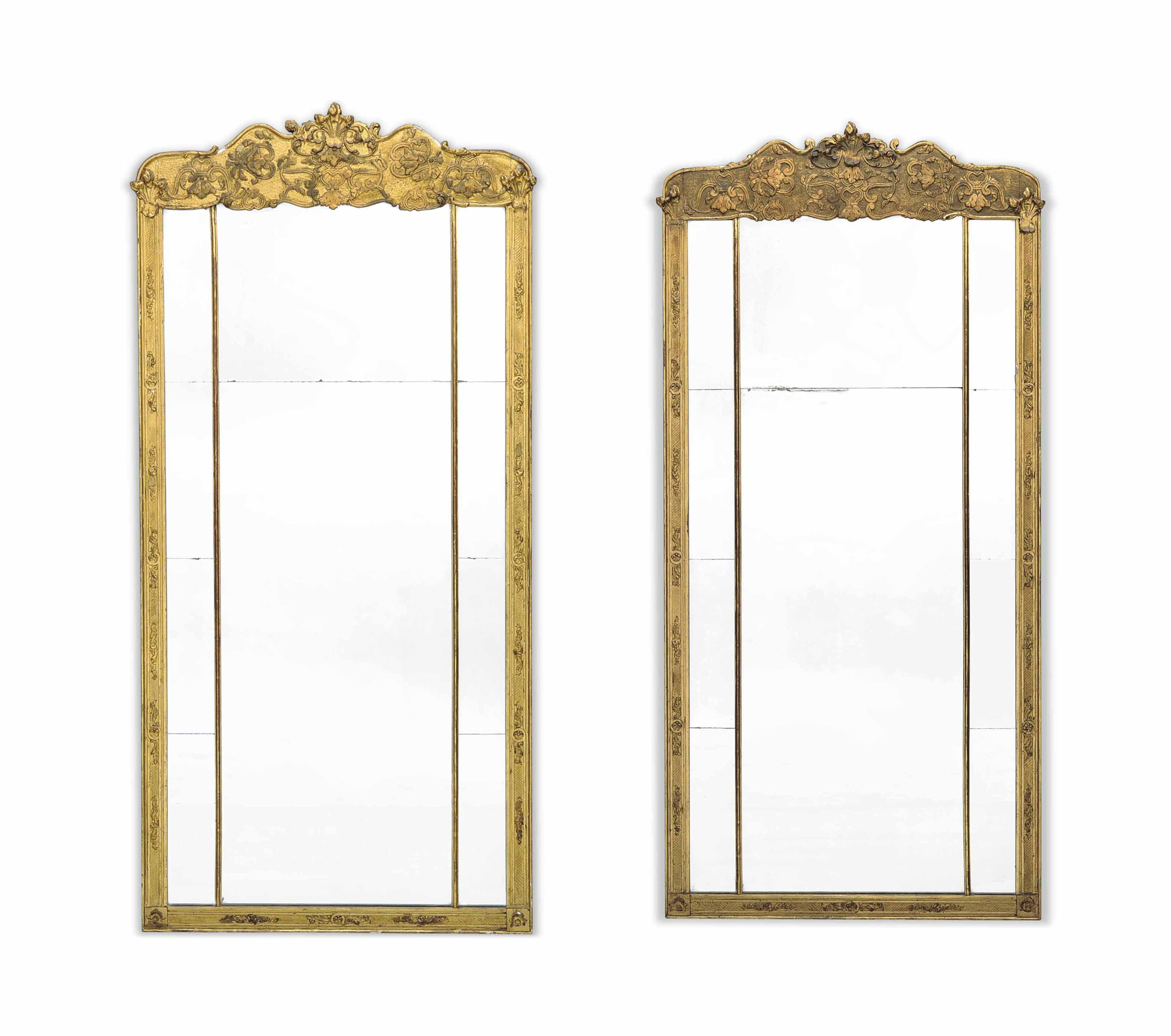 A PAIR OF LATE VICTORIAN GILTWOOD AND COMPOSITION MIRRORS