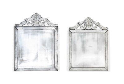 A PAIR OF ITALIAN ETCHED-GLASS
