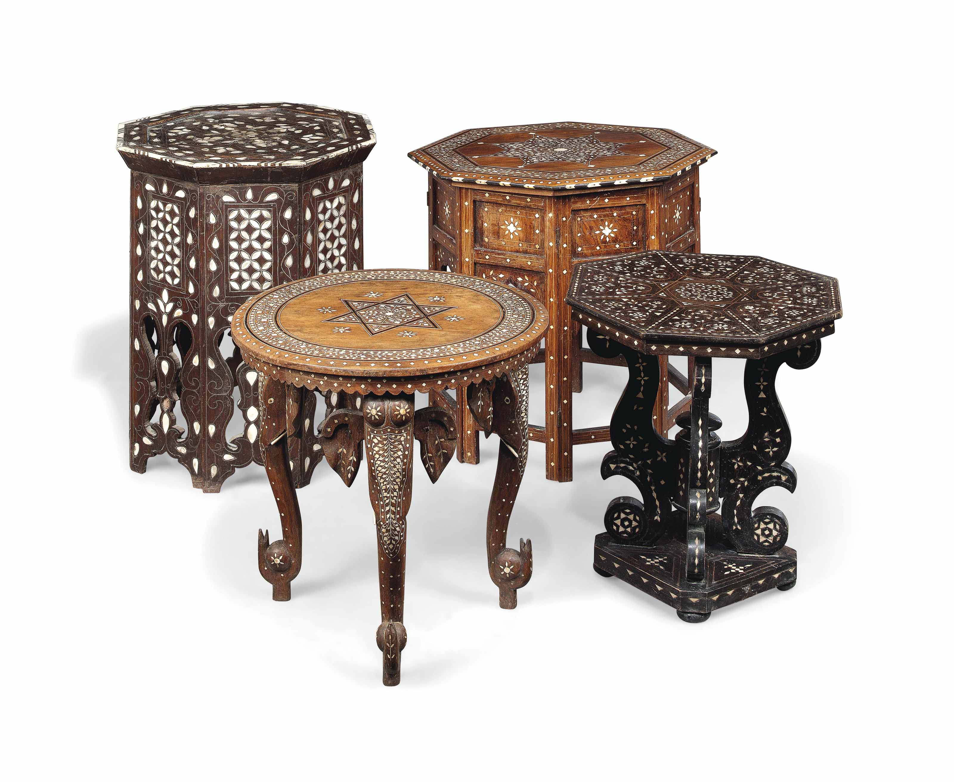 A GROUP OF FOUR BONE AND MOTHER-OF-PEARL INLAID HARDWOOD OCCASIONAL TABLES