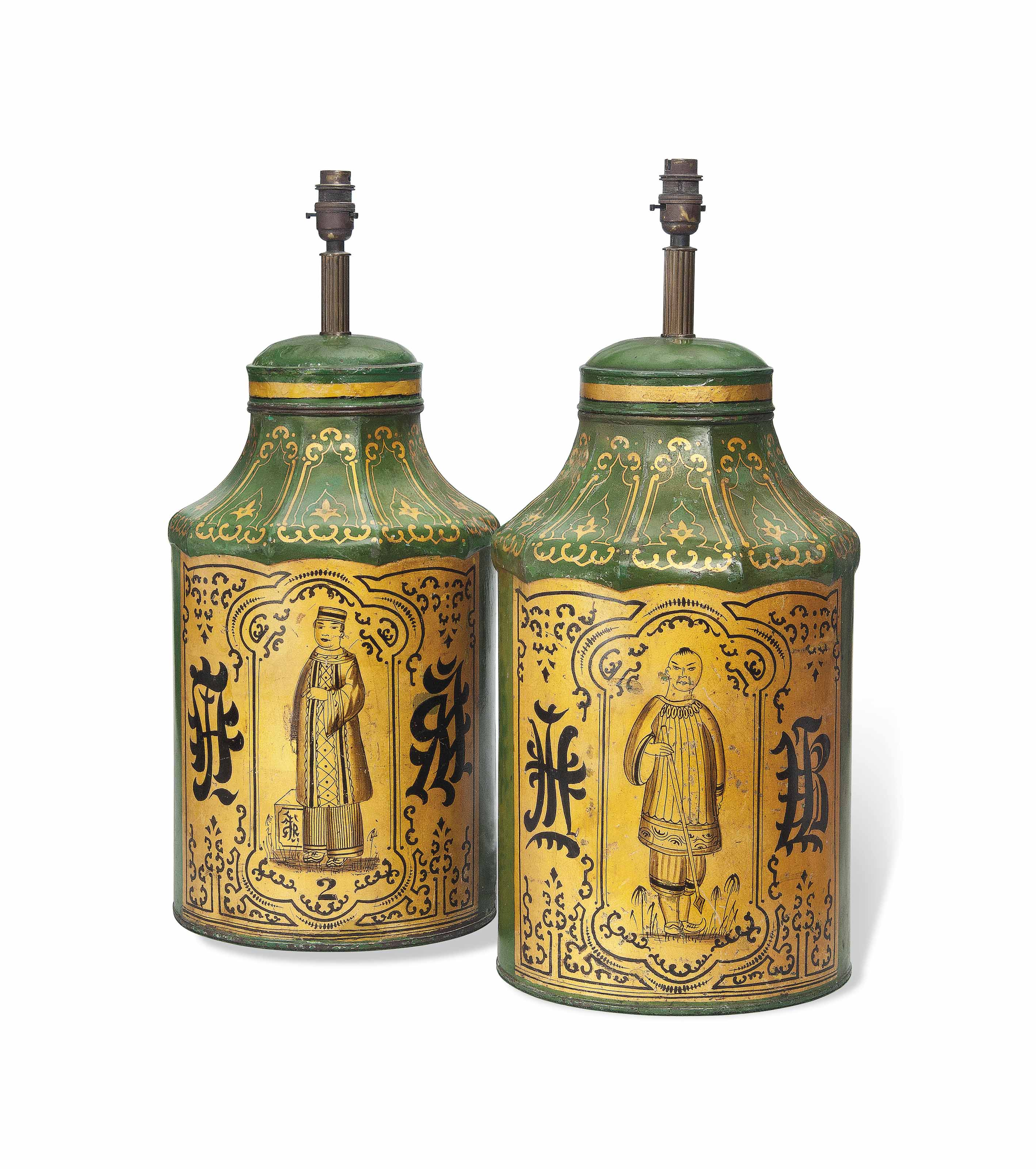A PAIR OF ENGLISH TOLE TEA CANNISTERS ADAPTED TO TABLE LAMPS