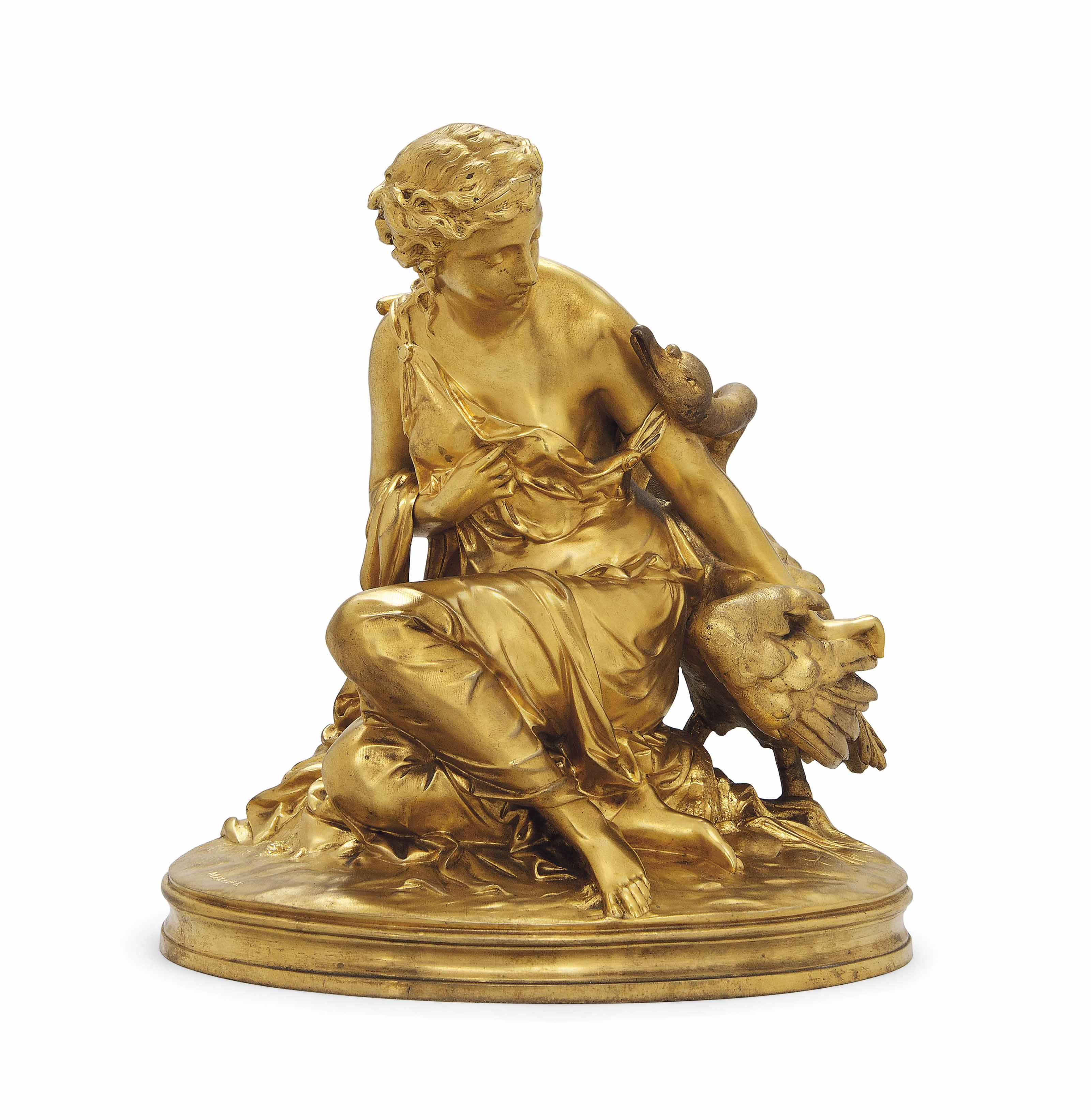 A FRENCH GILT-BRONZE GROUP OF LEDA AND THE SWAN