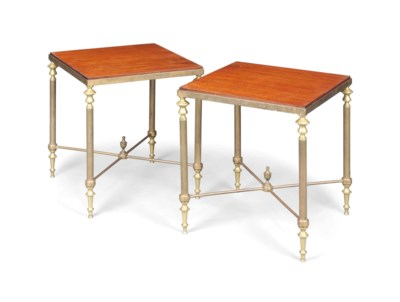 A PAIR OF BRASS AND MAHOGANY