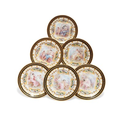 A SET OF SIX SEVRES-STYLE CABI