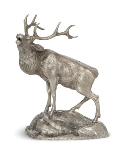 A VICTORIAN SILVER STAG TABLE