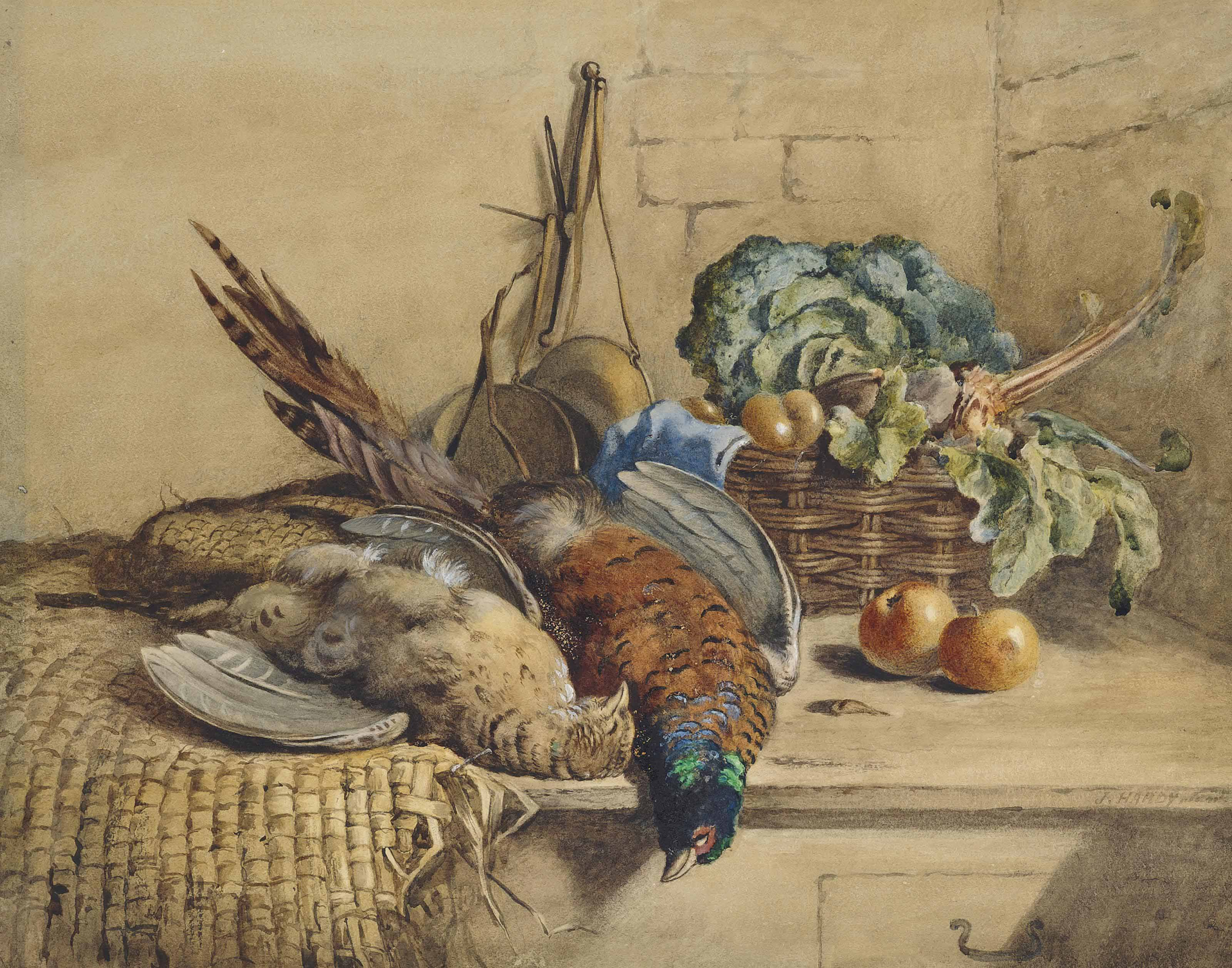 Still life with game, cabbage, beetroot and apples,