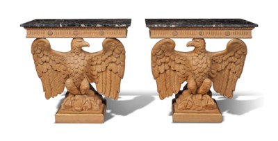 A PAIR OF CARVED PINE AND PARC