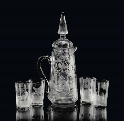 A BOHEMIAN ENGRAVED GLASS JUG,