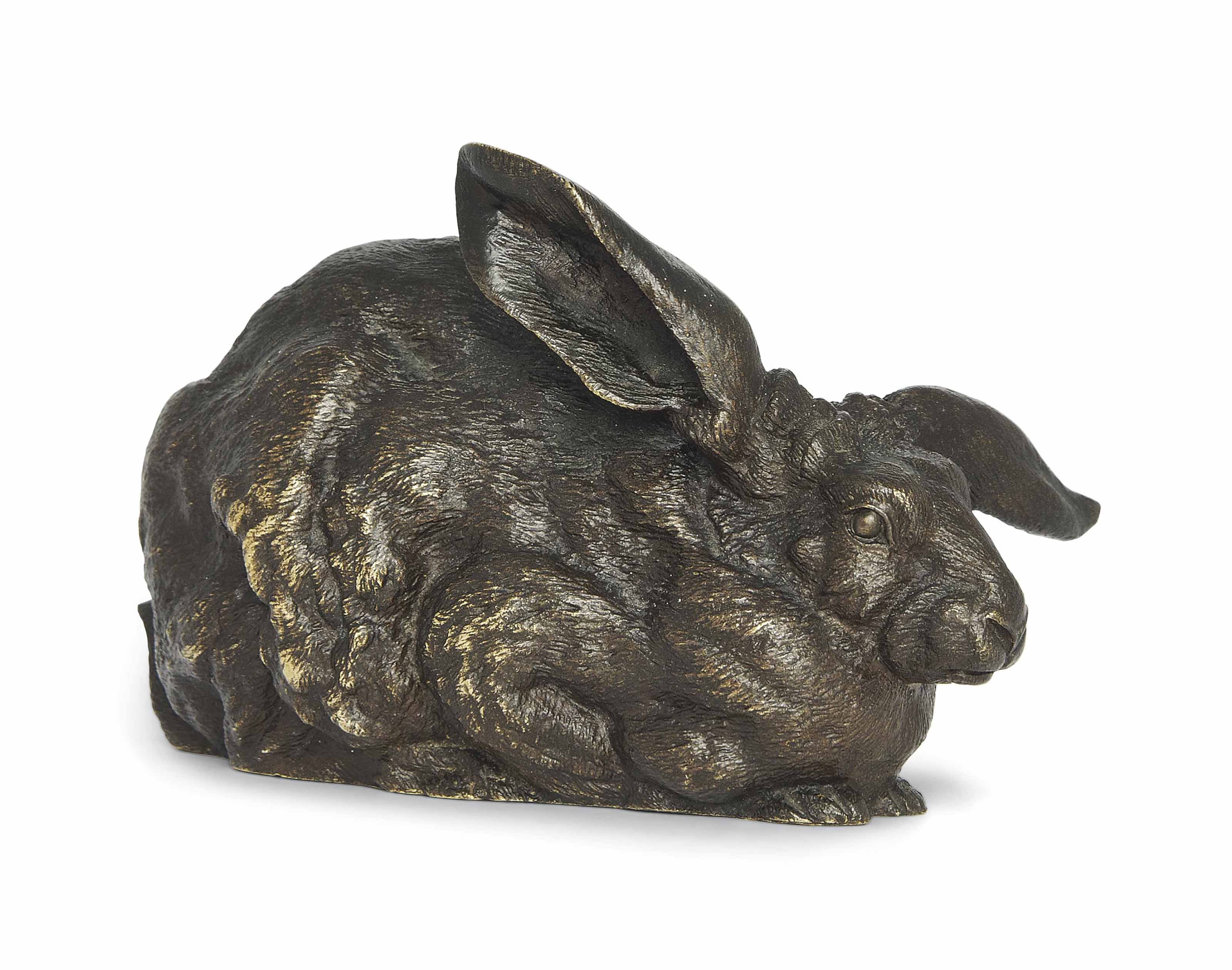 A RARE FRENCH BRONZE MODEL OF A RABBIT ENTITLED 'LAPIN ASSIS'