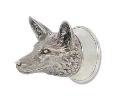 A CAST SILVER FOX-HEAD STIRRUP