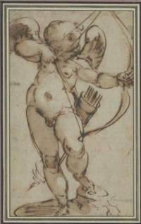 Cupid aiming his bow