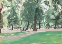 Green Park on a summer's day (illustrated); and Town square, Cote d'Azur