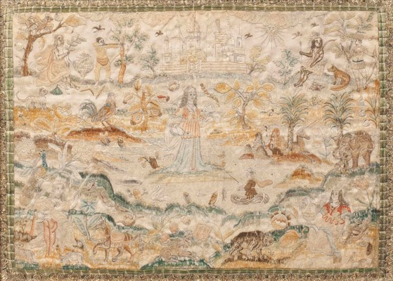 A CHARLES II EMBROIDERED SILK