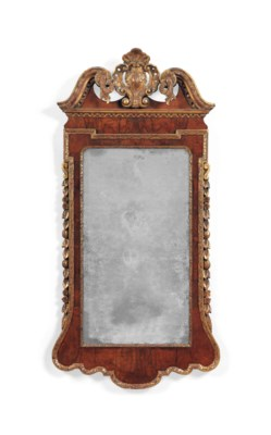 A GEORGE II PARCEL-GILT WALNUT