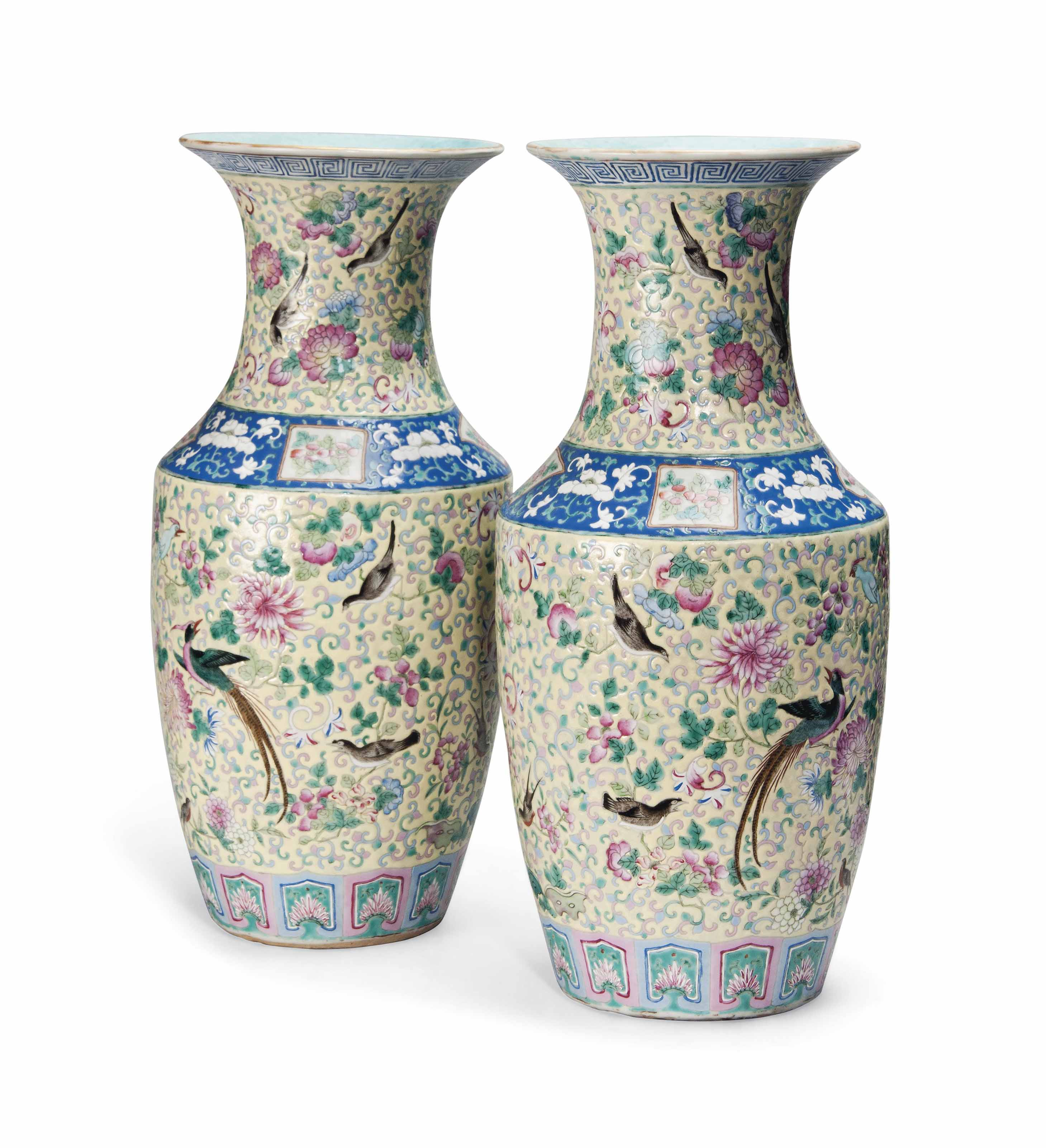 A PAIR OF CHINESE FAMILLE ROSE BALUSTER VASES