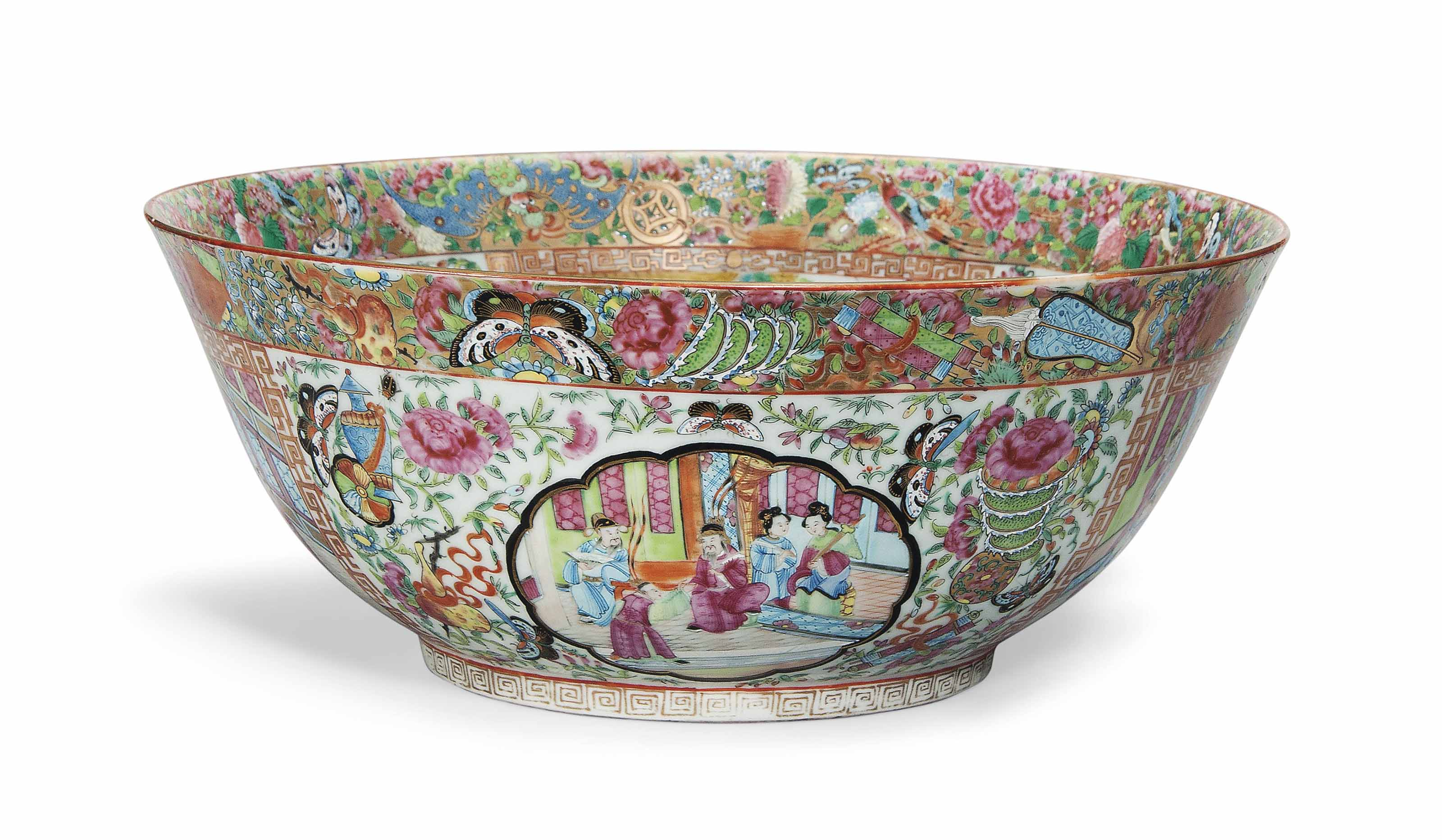 A CANTONESE FAMILLE ROSE PUNCH BOWL