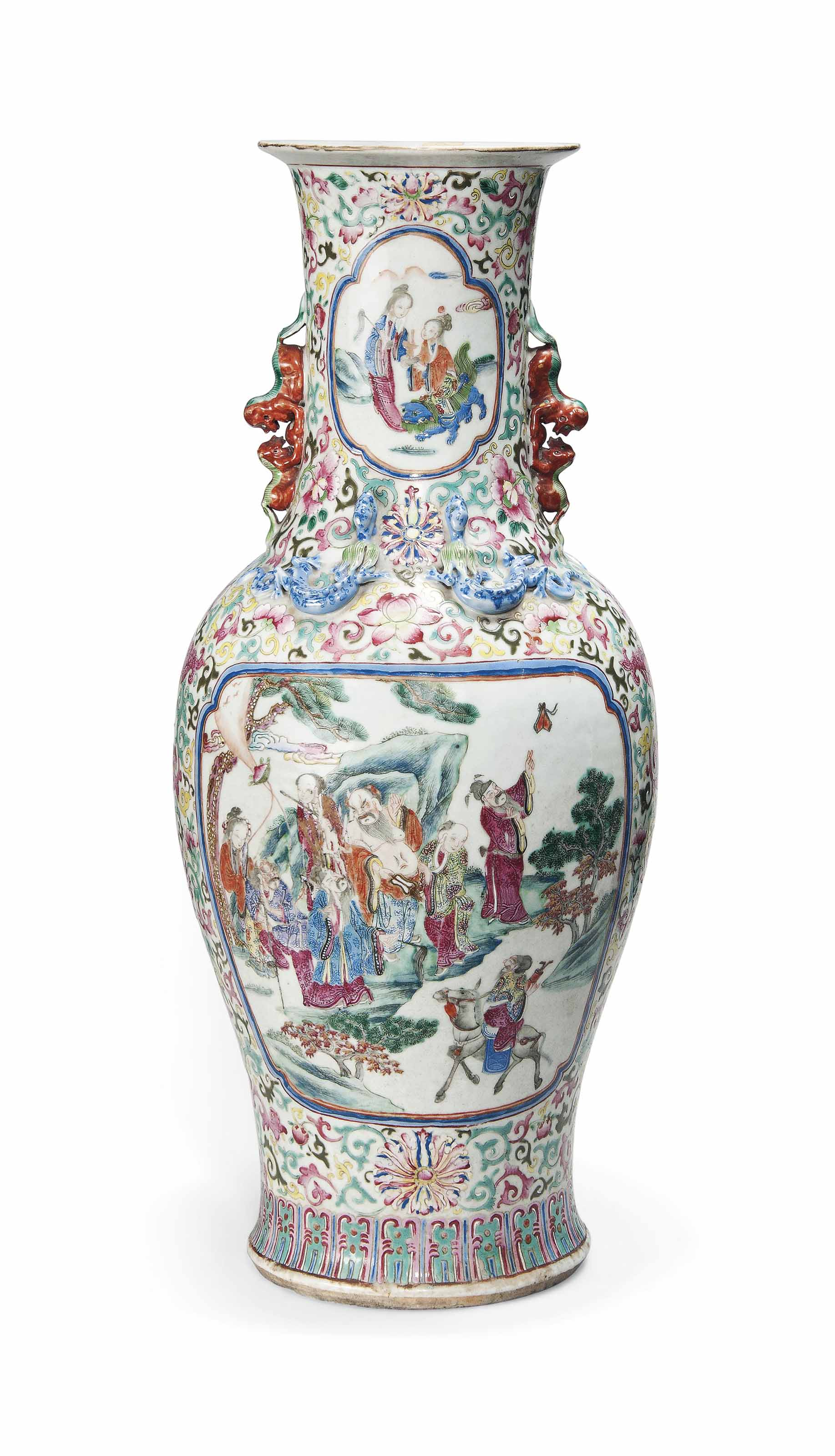 A CHINESE FAMILLE ROSE BALUSTER VASE