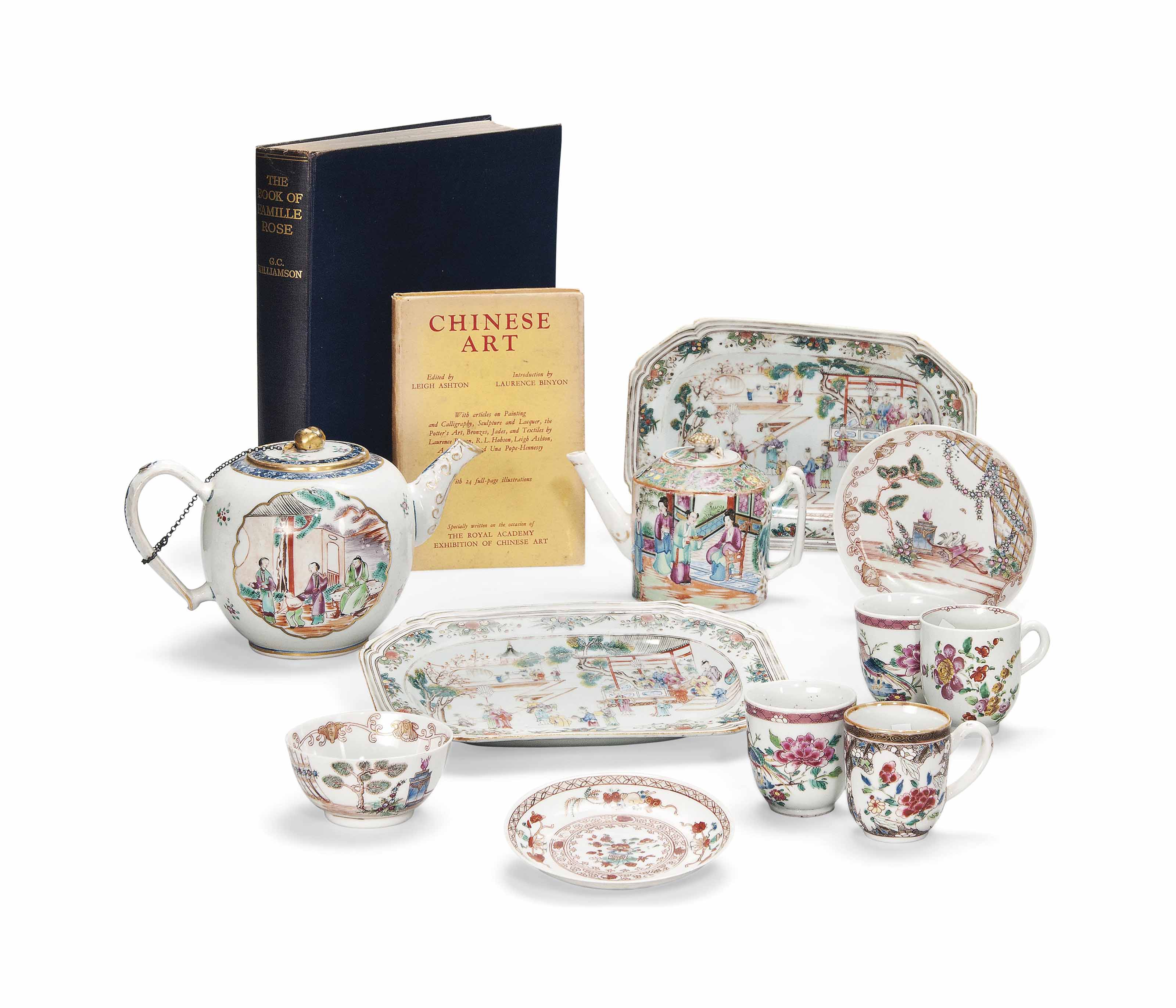 A SMALL COLLECTION OF FAMILLE ROSE CHINESE EXPORT PORCELAIN AND TWO REFERENCE BOOKS