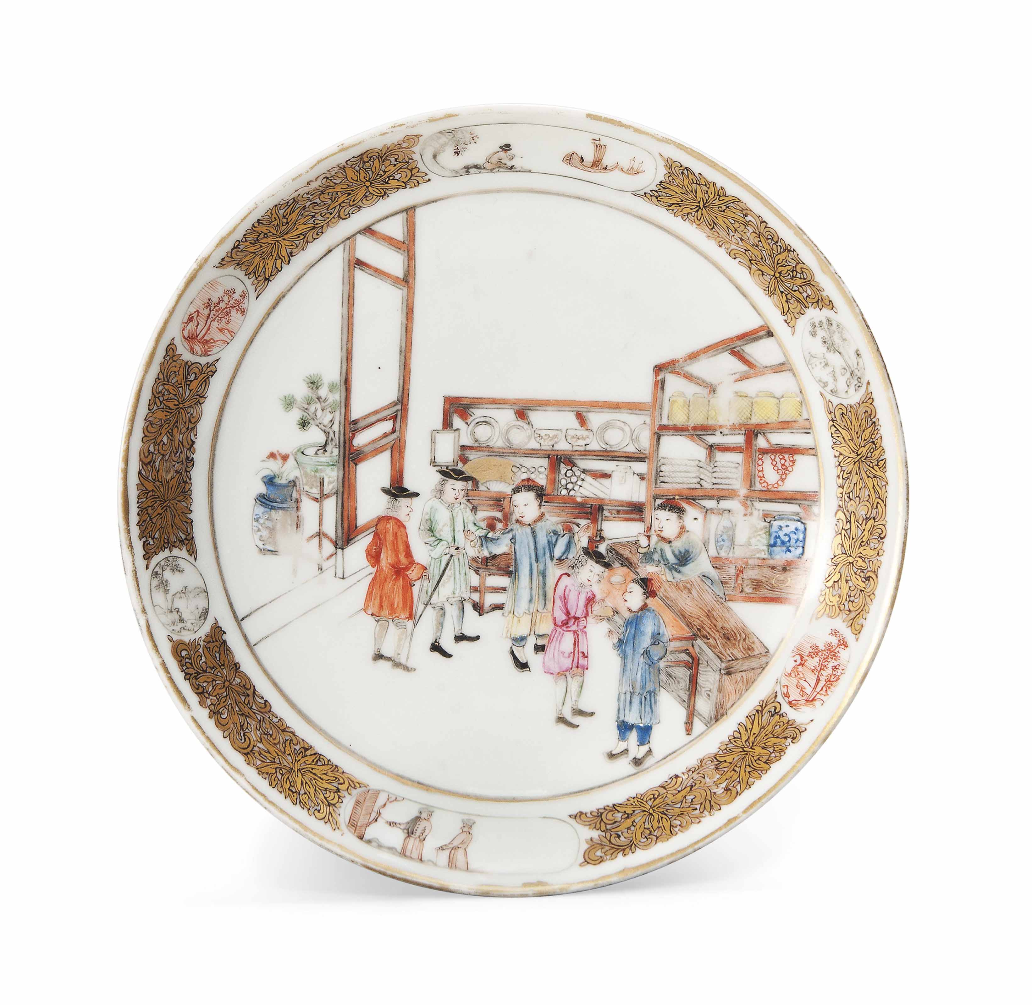 A CHINESE EXPORT FAMILLE ROSE AND GILT 'PORCELAIN TRADE' SAUCER