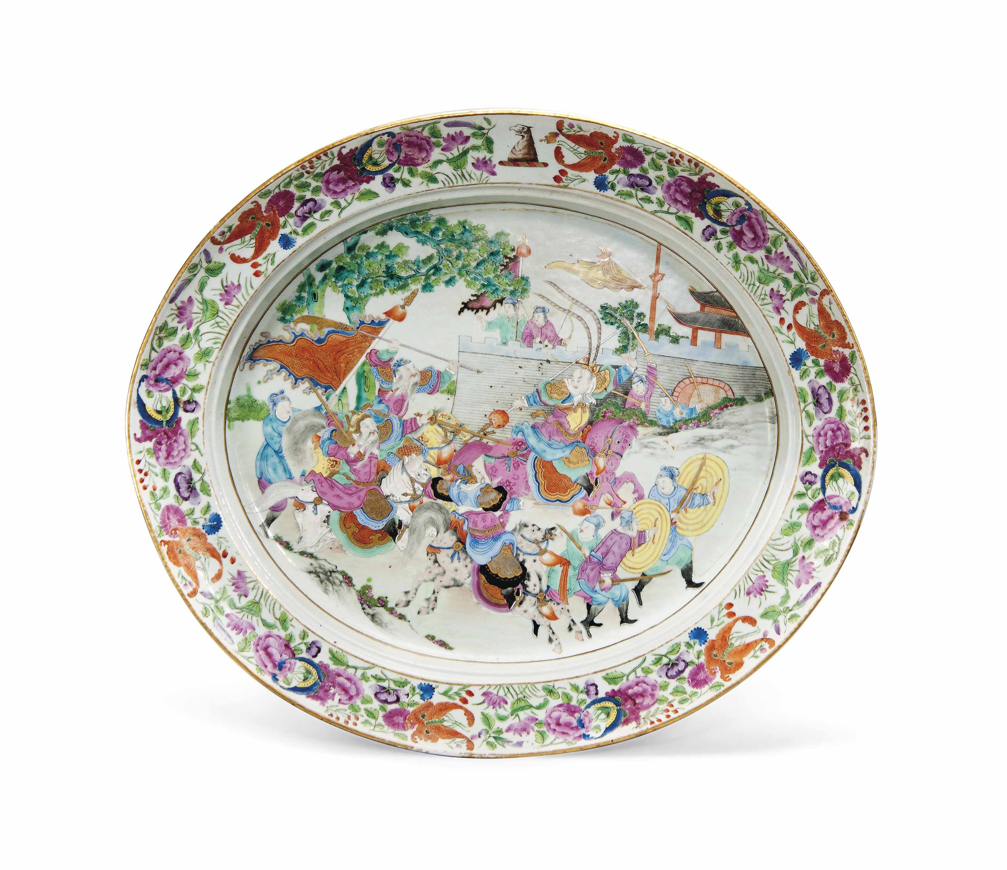 A CANTONESE FAMILLE ROSE OVAL CHARGER