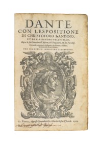 DANTE ALIGHIERI (1265-1321). [Divina Commedia], commentary by Christoforo Landino and Alessandro Vellutello, edited by Francesco Sansovino. Venice: Domenico Nicolino, for Giovanni Battista and Melchiore Sessa and brothers, 1564. 2° (322 x 214mm). Title with large woodcut oval portrait of Dante within elaborate scrollwork border with winged figures, text in italic with commentary surround in roman type, initials and ornaments, 95 woodcut illustrations, one full-page, printer's device within scrollwork border at end. (Clean tear and light crease to title, occasional light waterstaining, spotting and soiling.) Contemporary red goatskin, central gilt medallion (rebacked, preserving most of the old spine, some staining and rubbing at extremities). Provenance: unidentified ownership inscription on title -- London, Carthusian monastery, gift of Daniel Wray (stamp on title verso).
