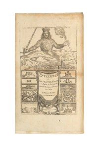 HOBBES, Thomas (1588-1679). Leviathan, or the Matter, Form, and Power of a Common-Wealth Ecclesiasticall and Civill. London: Andrew Crooke, 1651 [but later]. 2° (330 x 200mm). Engraved frontispiece, folding letterpress table, small woodcut on title. (Neat repair on frontispiece, light crease on title, light spotting and occasional browning.) Contemporary calf, sides panelled in blind, gilt spine in compartments, edges sprinkled red, gilt turn-ins (spine restored at head and tail, front joint splitting, some rubbing).