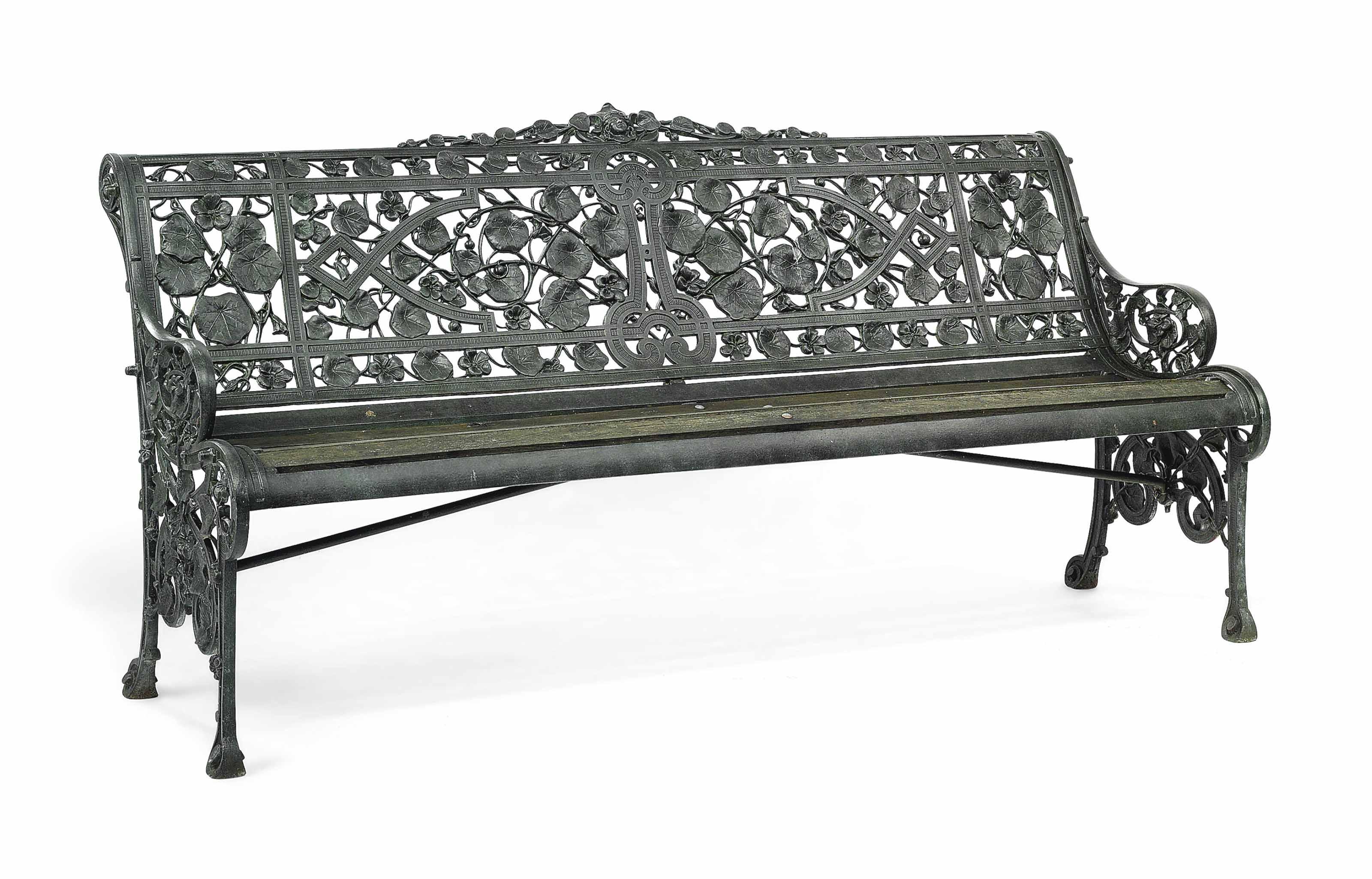 A VICTORIAN CAST-IRON 'NASTURTIUM' PATTERN GARDEN SEAT