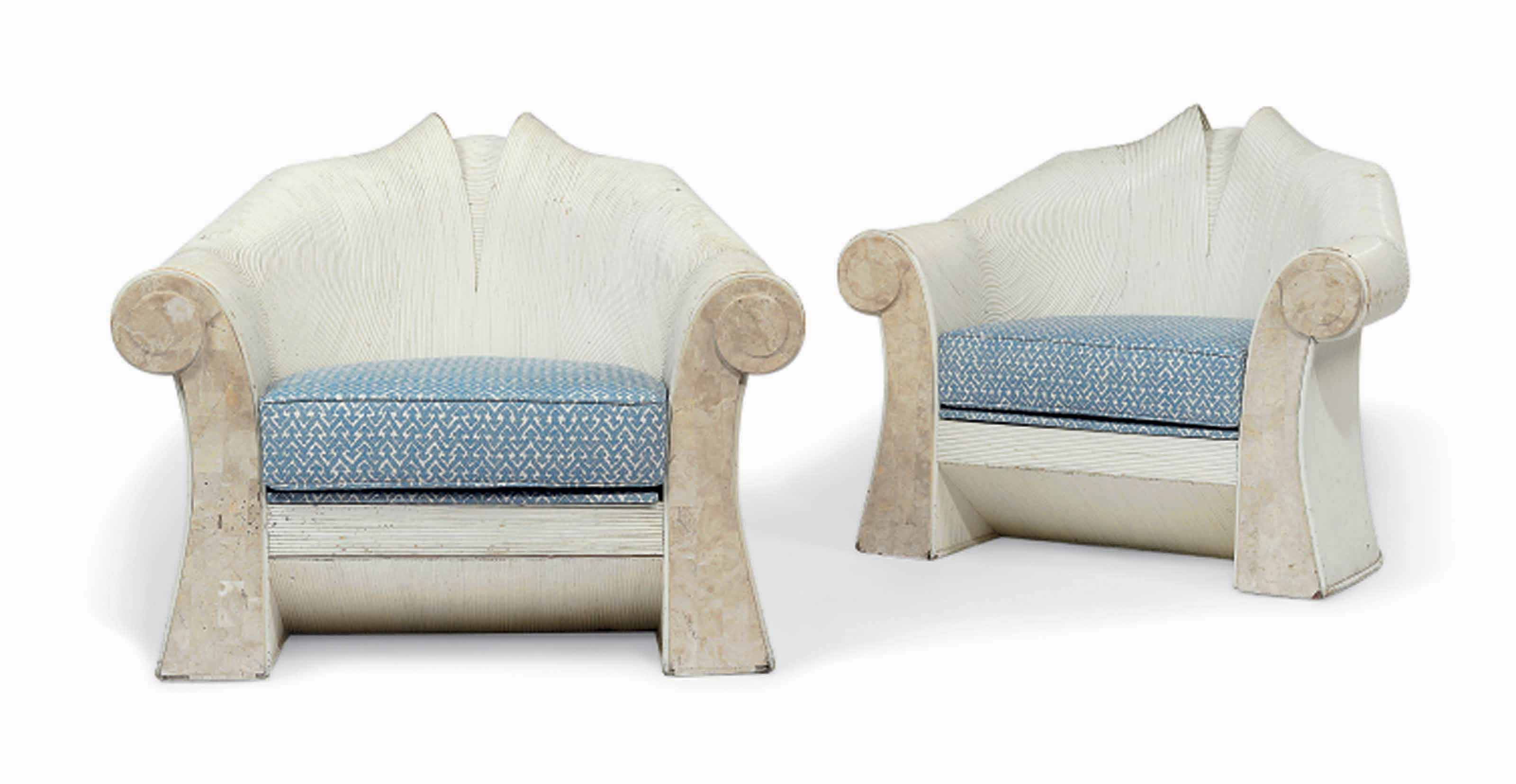 A PAIR OF WHITE-PAINTED AND TESSELLATED-TRAVERTINE AND REED ARMCHAIRS