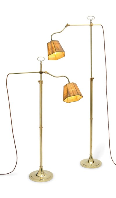 A PAIR OF BRASS ADJUSTABLE LAM