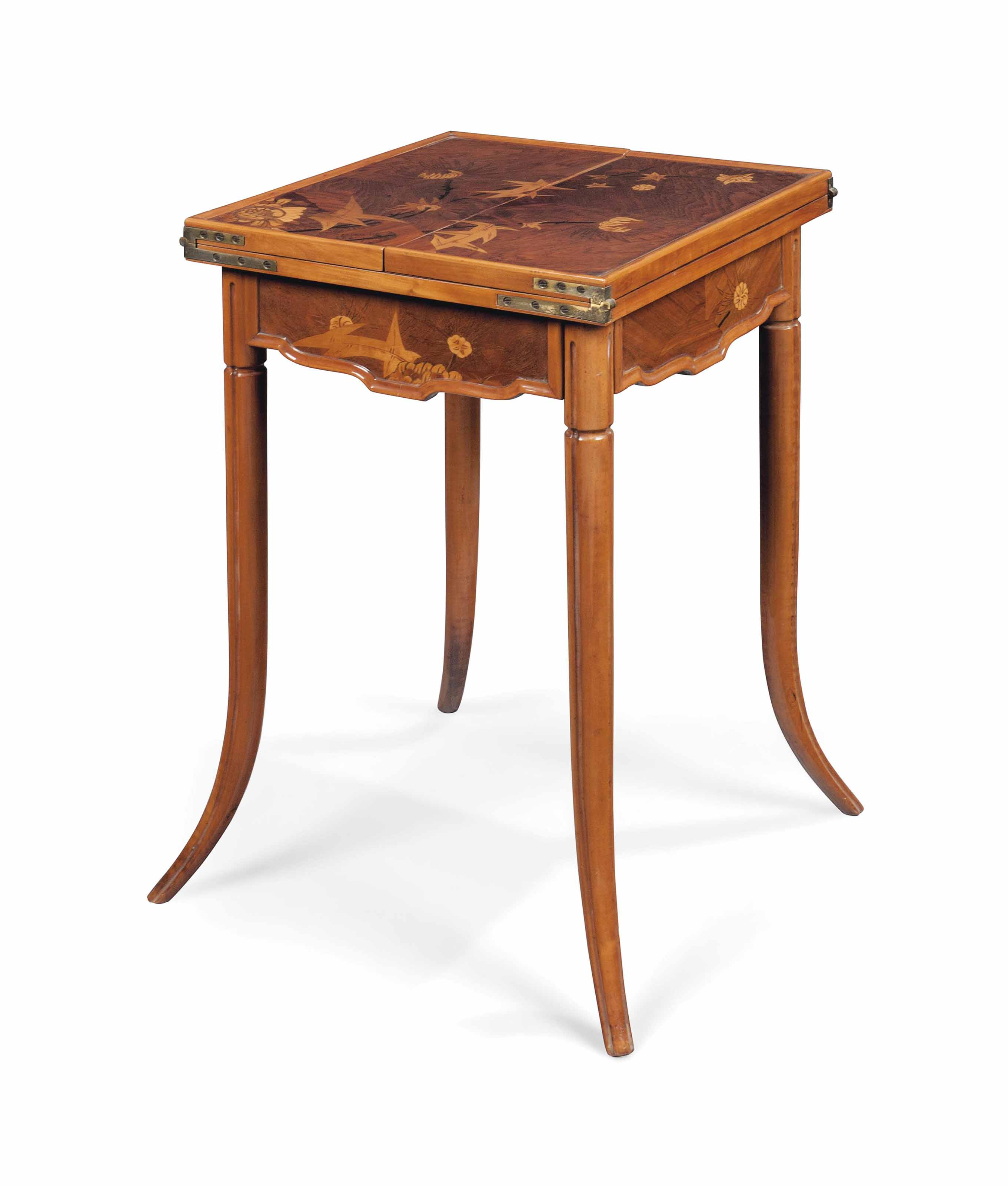 A GALLÉ WALNUT AND MARQUETRY GAMES TABLE