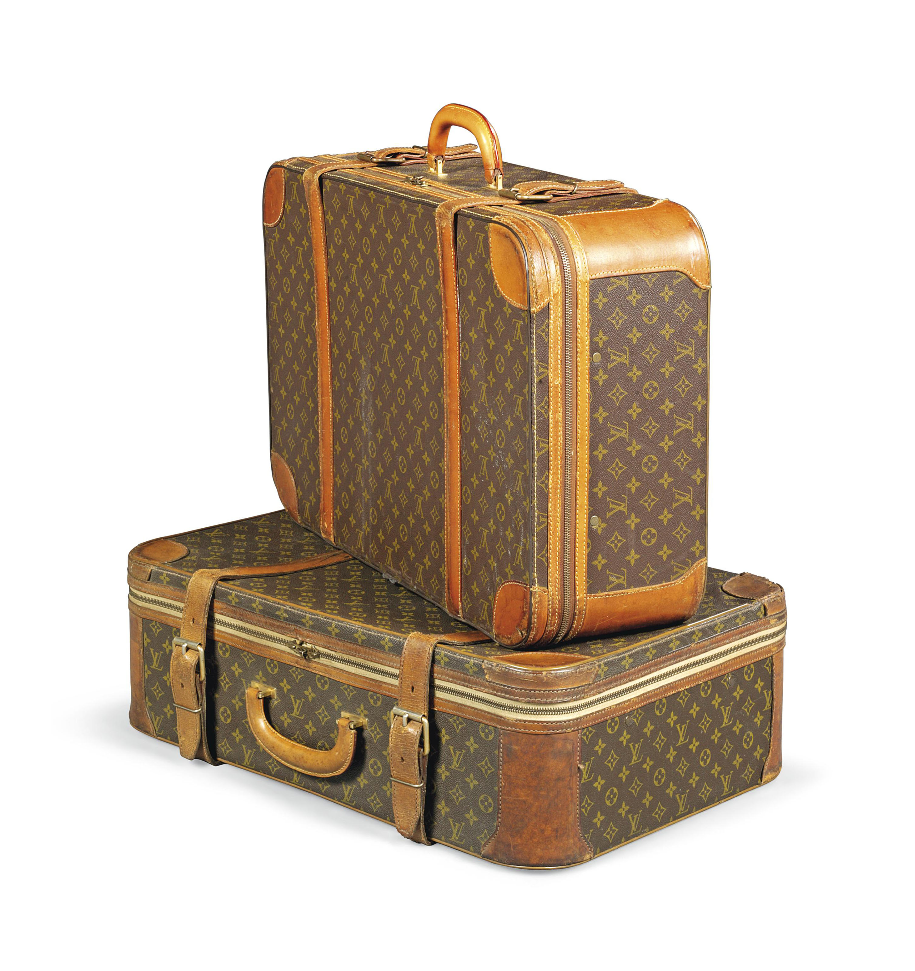 A PAIR OF SOFT SIDED SUITCASES IN MONOGRAM CANVAS