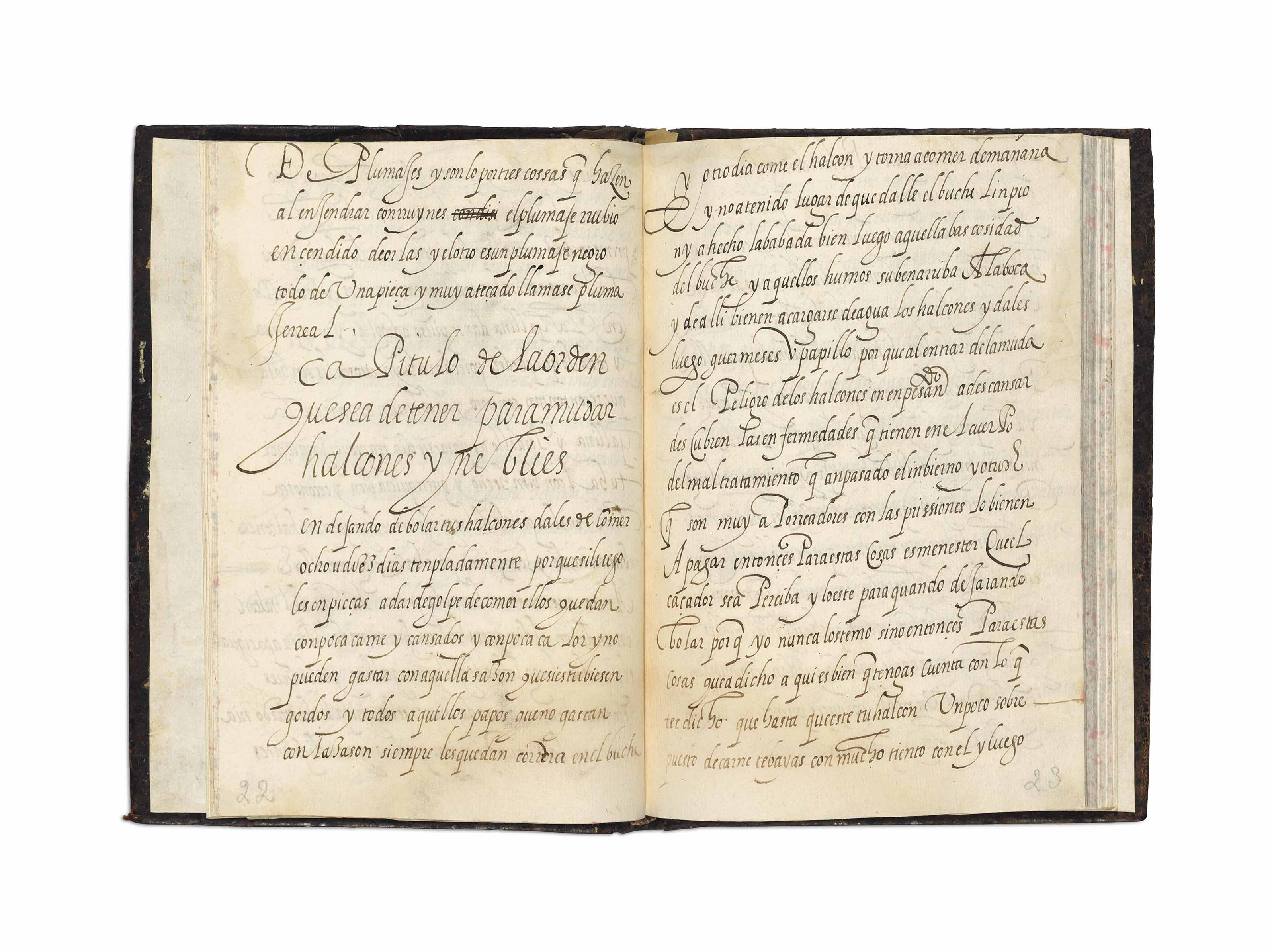 FALCONRY MANUSCRIPT -- [(?) LOPEZ DE AYALA, Pedro]. Libro de cetreria de halcones. Manuscript treatise in 18 chapters, 17th-century, 63 leaves, 8° (194 x 140mm) (the text faded in places, occasional staining to margins); near contemporary calf, covers with gilt single fillet frames enclosing gilt arms (rebacked to style). Provenance: the arms of Castile y Leon on the binding; in the library of Joaquin María Abaurre, a noted Sevillian collector of books on hunting, 1926 (bookplate).  Beginning with a discussion of the plumage of gyrfalcons, and how to distinguish them, the author then lists how different types of falcon must be kept, fed and cared for, as well as describing the processes around their training and use -- including the intricacies of fitting their hoods -- and adds some information on the keeping of nightingales.