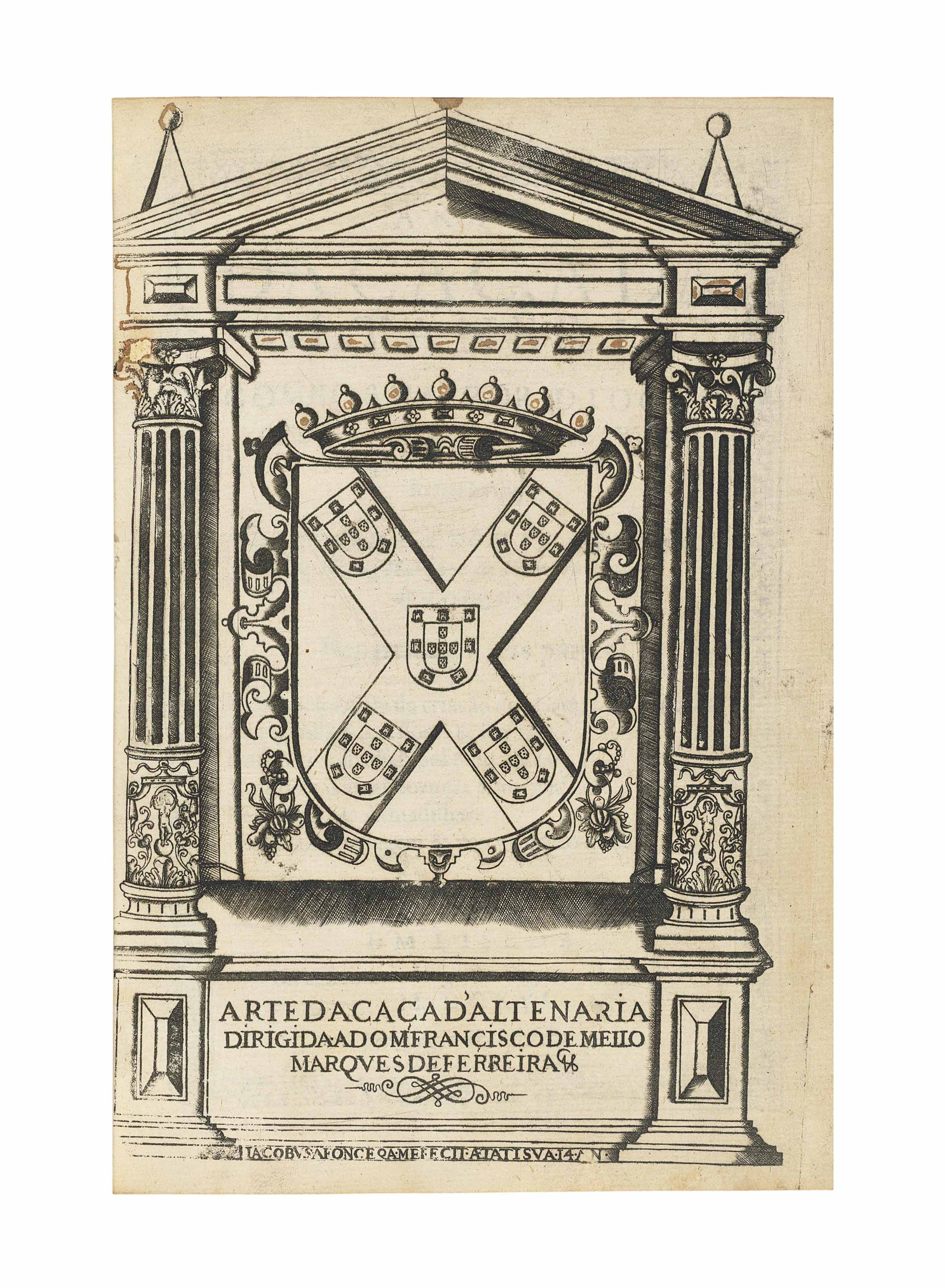 FERNANDEZ FERREIRA, Diego. Arte da caça d'altaneria. Lisbon: Jorge Rodriguez, 1616. 4° (195 x 135mm). Engraved frontispiece with arms within architectural border, title within woodcut border, woodcut initials. (Title repaired with small loss at bottom corner, light browning, a few scattered stains, tiny repair to M1 touching a letter.) Red morocco by Menard with gilt arms of the Duque de Almazan, gilt spine, turn-ins and edges (deep scuff mark to back cover). Provenance: inscription on verso of title, at end of dedication and on final leaf, a few marginal annotations – Duque de Almazan (binding) -- Joaquin M. Abaurre (bookplate).