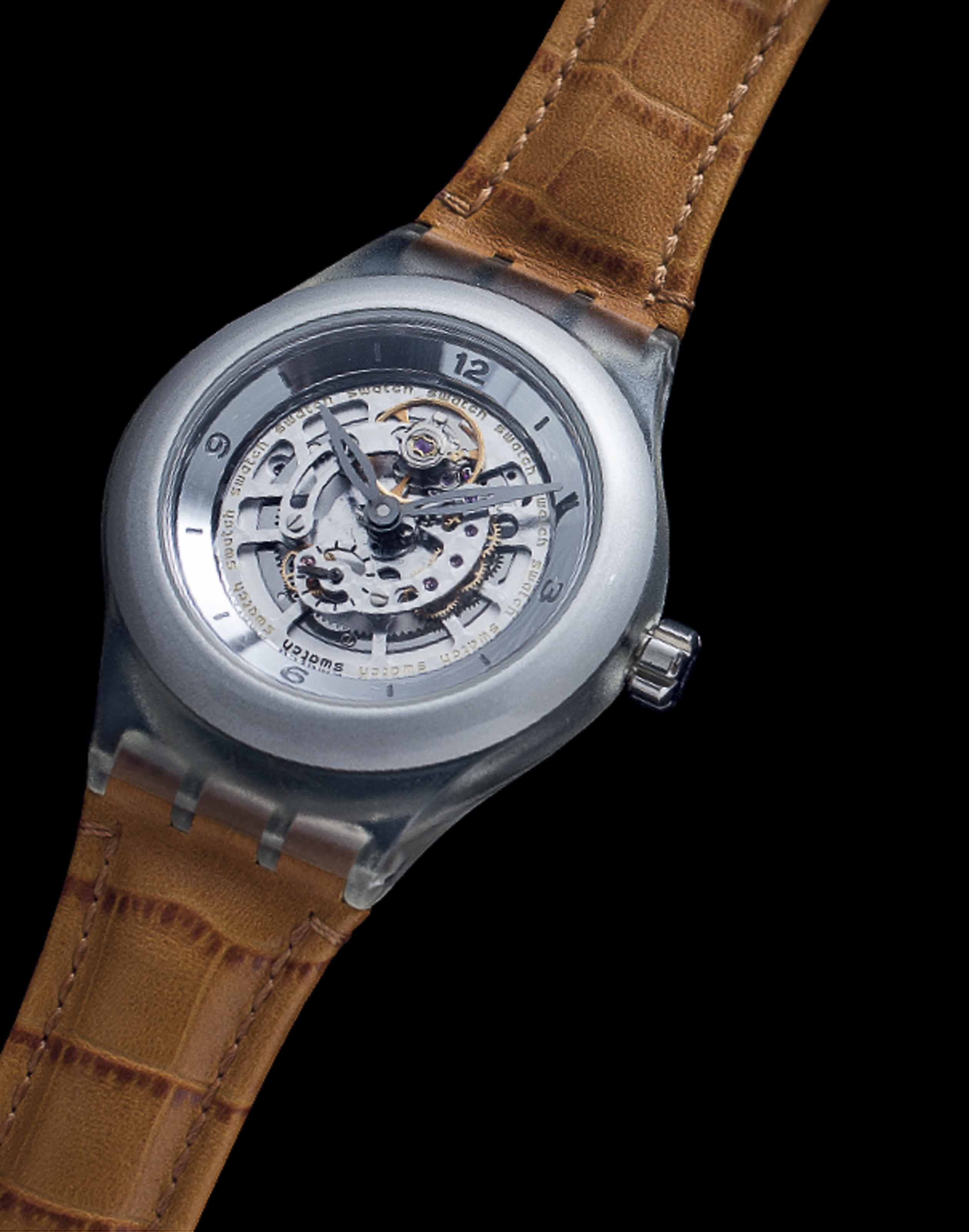 SWATCH. AN UNUSUAL ALUMINUM, PLASTIC AND DIAMOND-SET LIMITED EDITION SKELETONISED WRISTWATCH