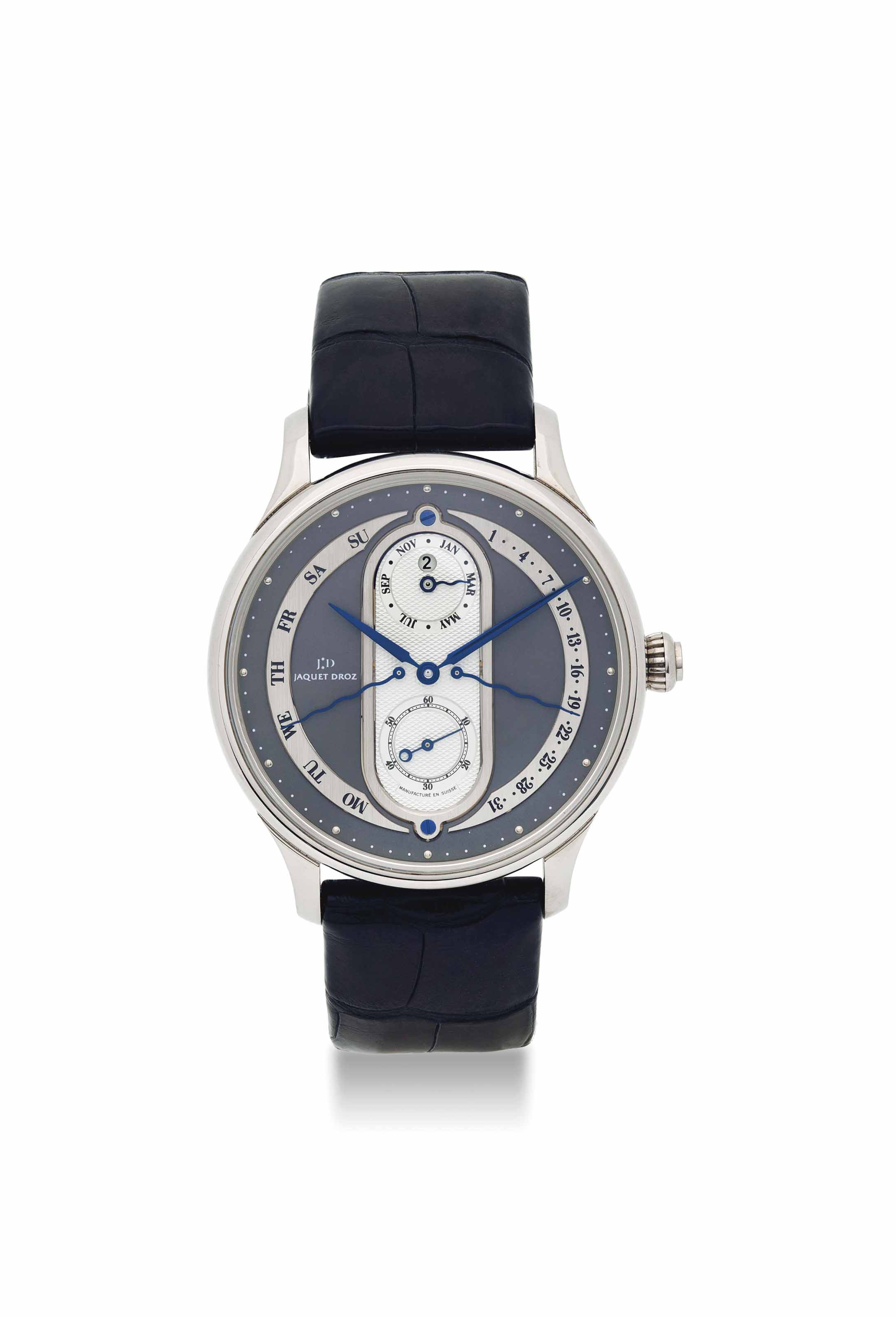 JAQUET DROZ. A RARE 18K WHITE GOLD AUTOMATIC BI-RETROGRADE PERPETUAL CALENDAR WRISTWATCH