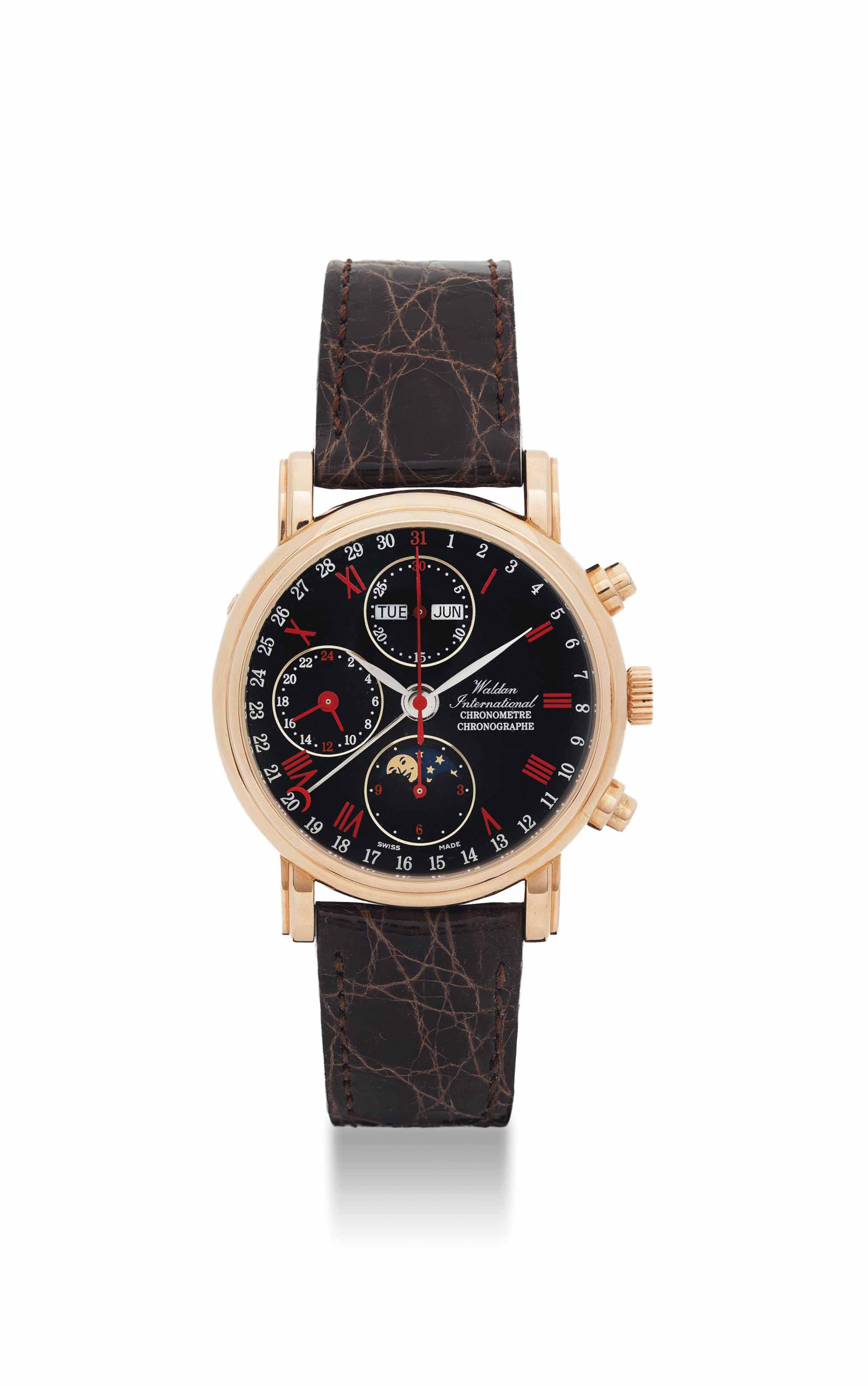 WALDAN INTERNATIONAL. AN 18K PINK GOLD AUTOMATIC TRIPLE CALENDAR CHRONOGRAPH WRISTWATCH WITH MOON PHASES