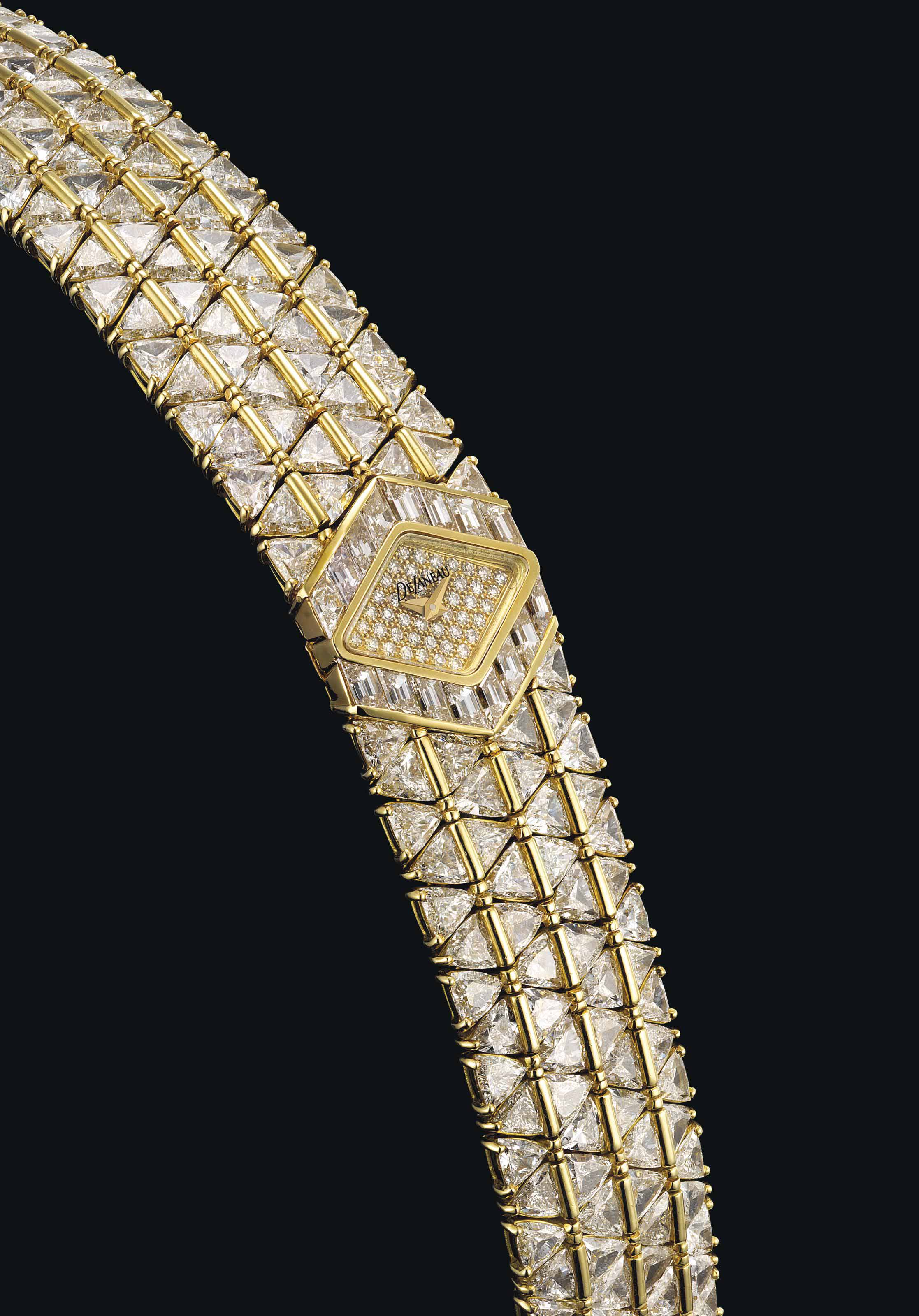 DELANEAU. A LADY'S FINE 18K GOLD AND DIAMOND-SET LOZENGE-SHAPED BRACELET WATCH