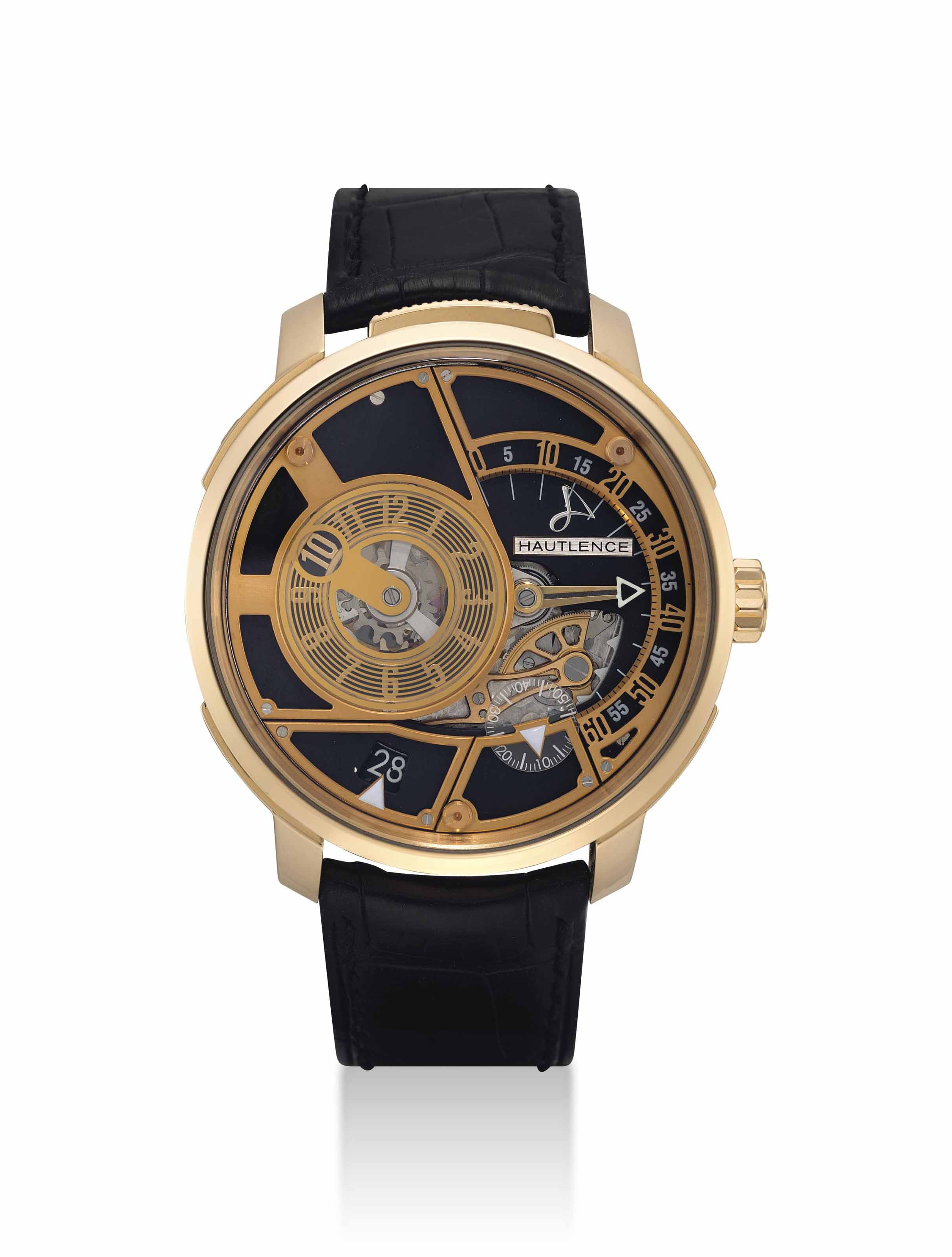 HAUTLENCE. AN 18K PINK GOLD LIMITED EDITION JUMP HOUR WRISTWATCH WITH RETROGRADE MINUTES AND DATE