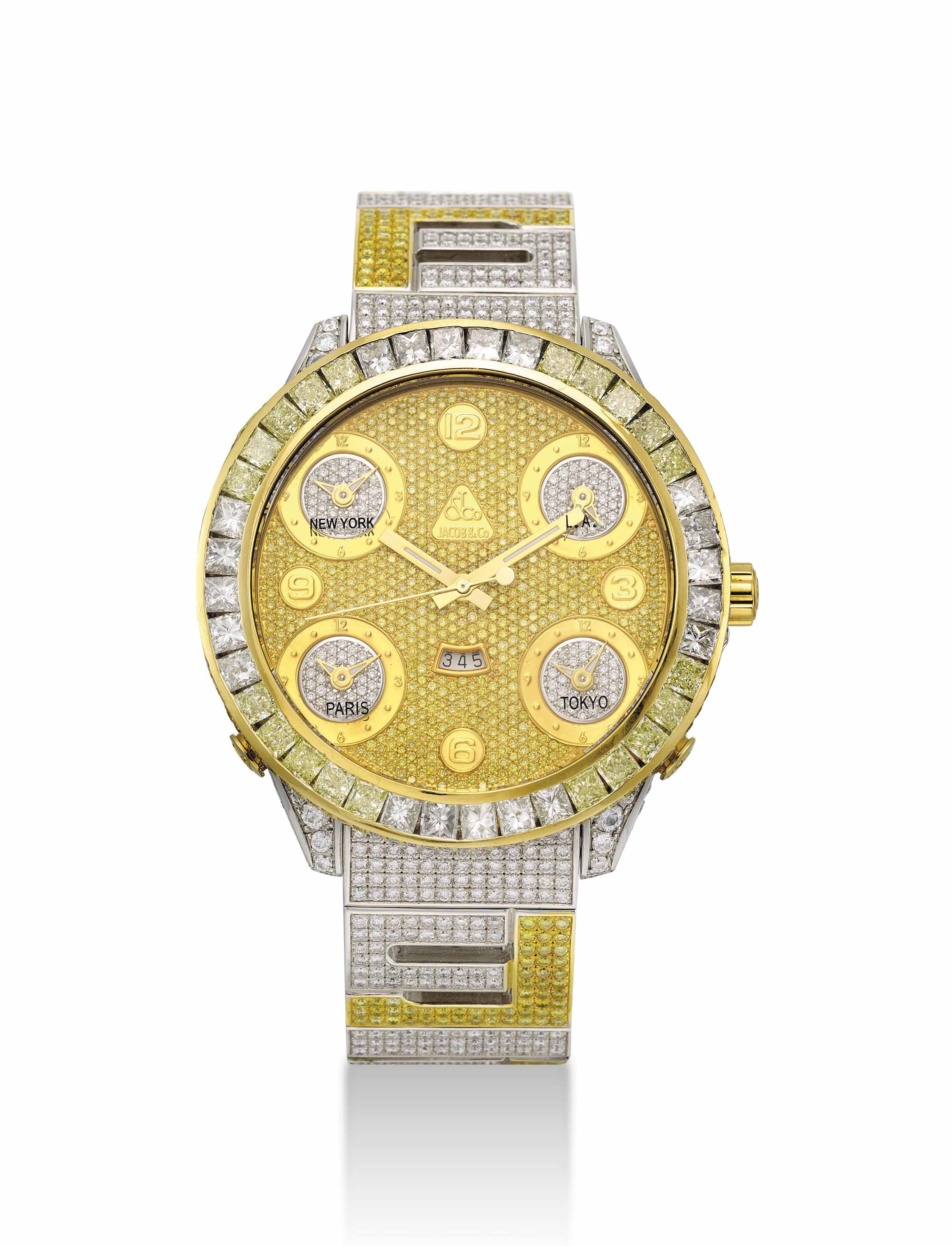JACOB & CO. A LARGE 18K WHITE GOLD, YELLOW DIAMOND AND DIAMOND-SET WRISTWATCH WITH SWEEP CENTRE SECONDS, DATE AND BRACELET