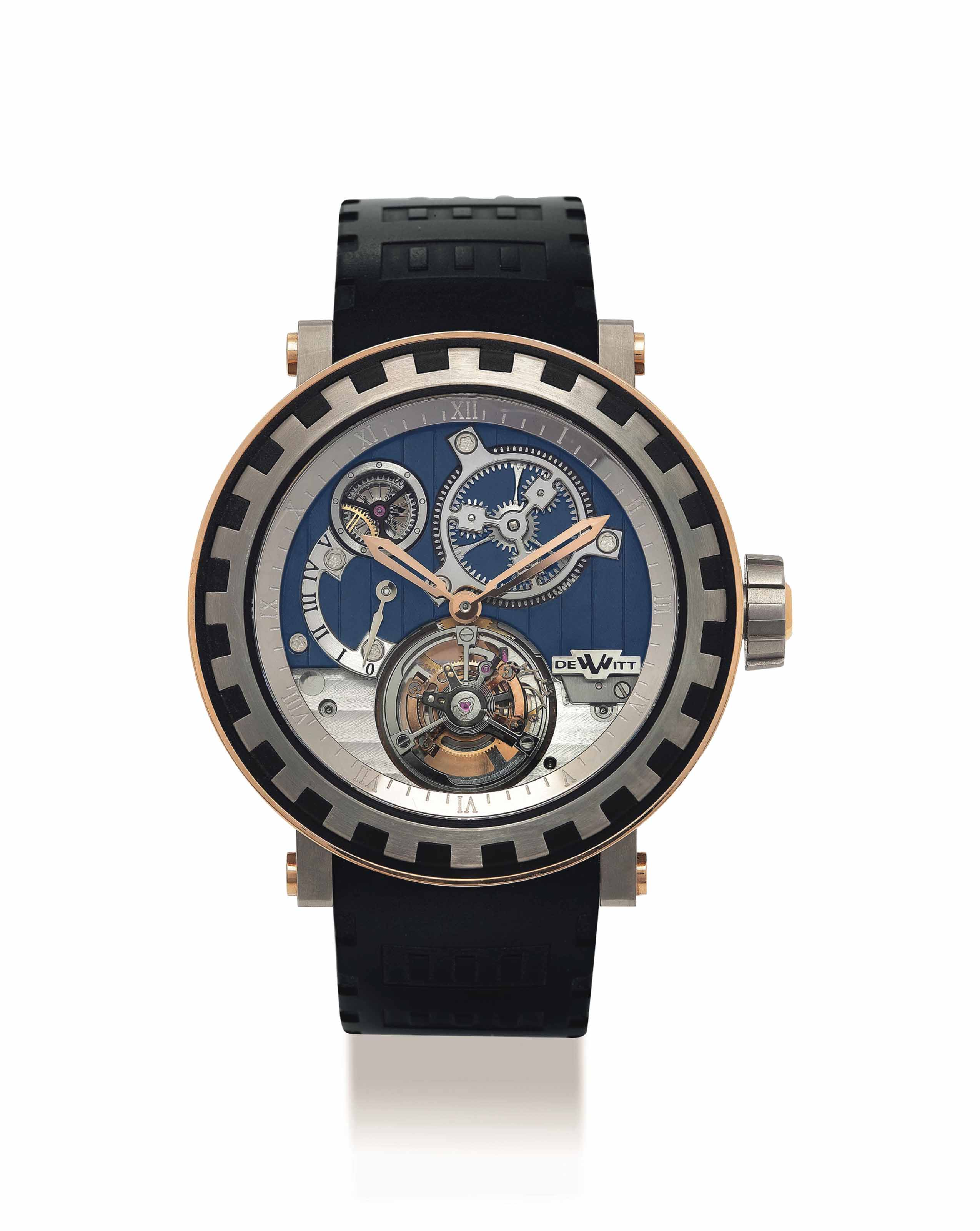 DEWITT. A FINE AND UNIQUE 18K PINK GOLD AND TITANIUM LIMITED EDITION SEMI-SKELETONISED TOURBILLON WRISTWATCH WITH 5 DAY POWER RESERVE