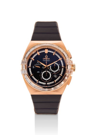 OMEGA. AN 18K PINK GOLD AND DI