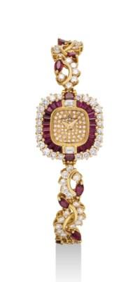 BAUME & MERCIER. A LADY'S FINE 18K GOLD, DIAMOND AND RUBY-SET SQUARE BRACELET WATCH