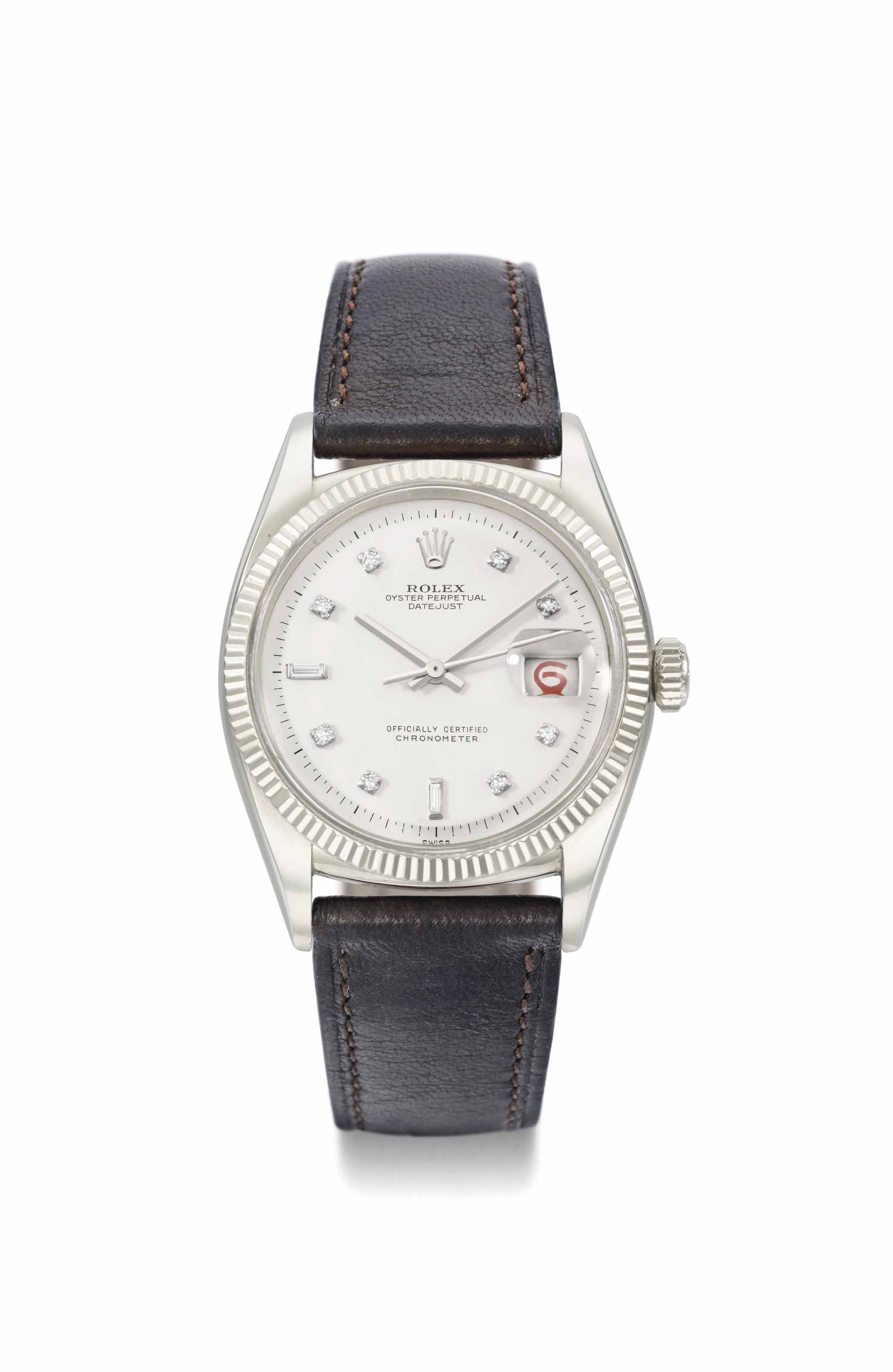 46d9b3bc6aa Rolex. An extremely rare and attractive 18K white gold and diamond-set  automatic wristwatch with sweep centre seconds and date