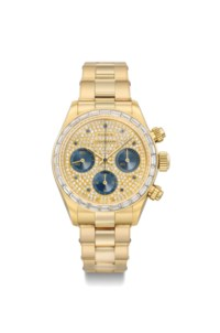 Rolex. A very important, extremely rare and highly attractive 18K gold, diamond and sapphire-set chronograph wristwatch with bracelet