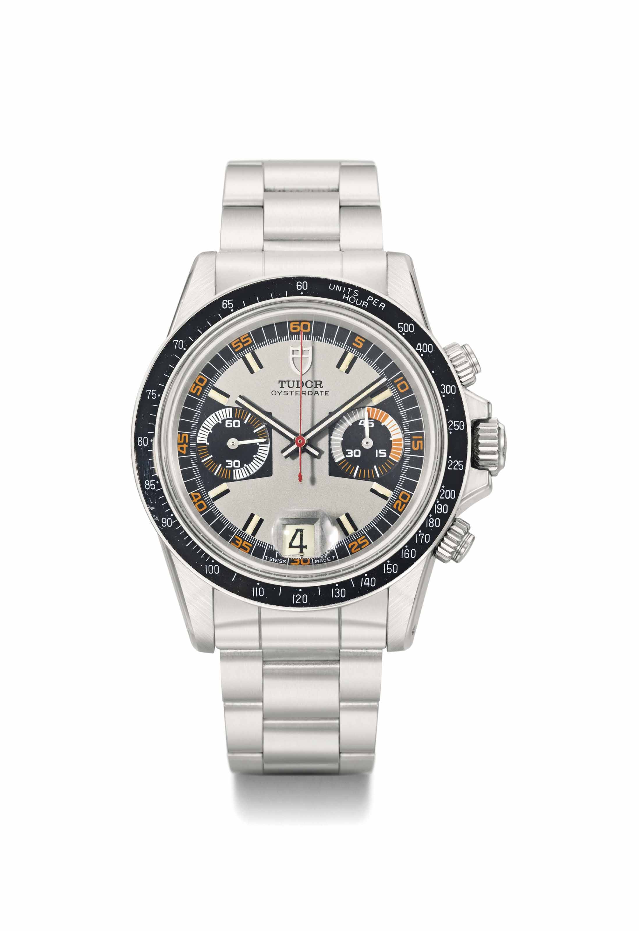 Tudor. A fine and attractive stainless steel tonneau-shaped chronograph wristwatch with date and bracelet
