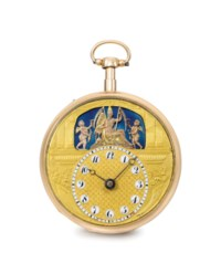 Bordier & LeRoy. A very fine 18K pink gold openface quarter repeating watch with two jaquemarts and an automaton scene