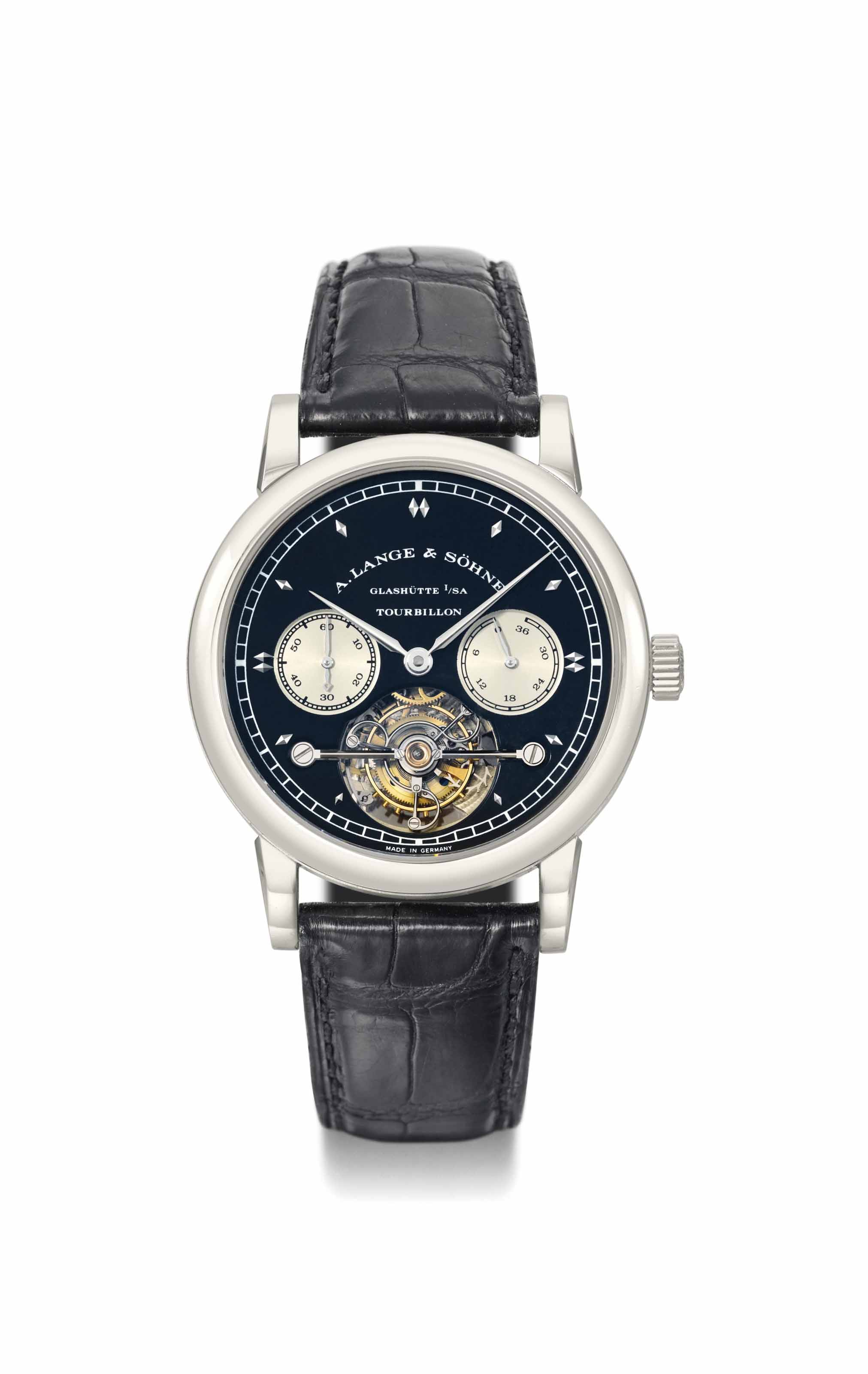 A. Lange & Söhne. An extremely fine and unique white gold one minute tourbillon wristwatch with chain fusée, power reserve and special black silver dial with white rhodium-plated dagger numerals