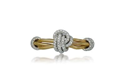 A RETRO GOLD AND DIAMOND BRACE
