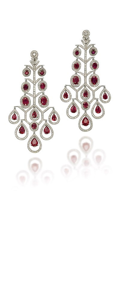 A PAIR OF RUBY AND DIAMOND CHA