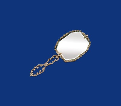A GOLD AND DIAMOND HAND MIRROR