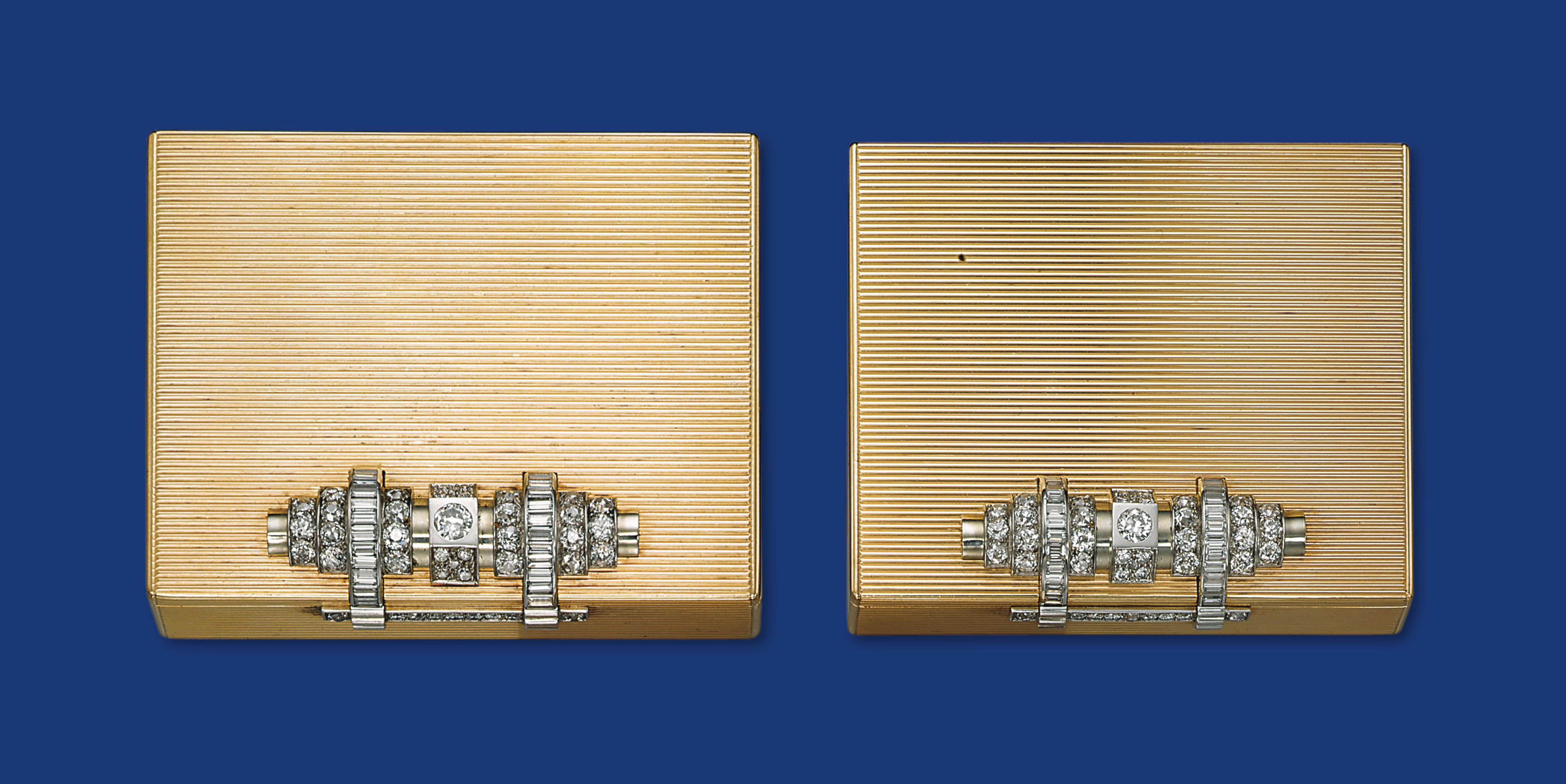 A PAIR OF GOLD AND DIAMOND CASES, BY OSTERTAG